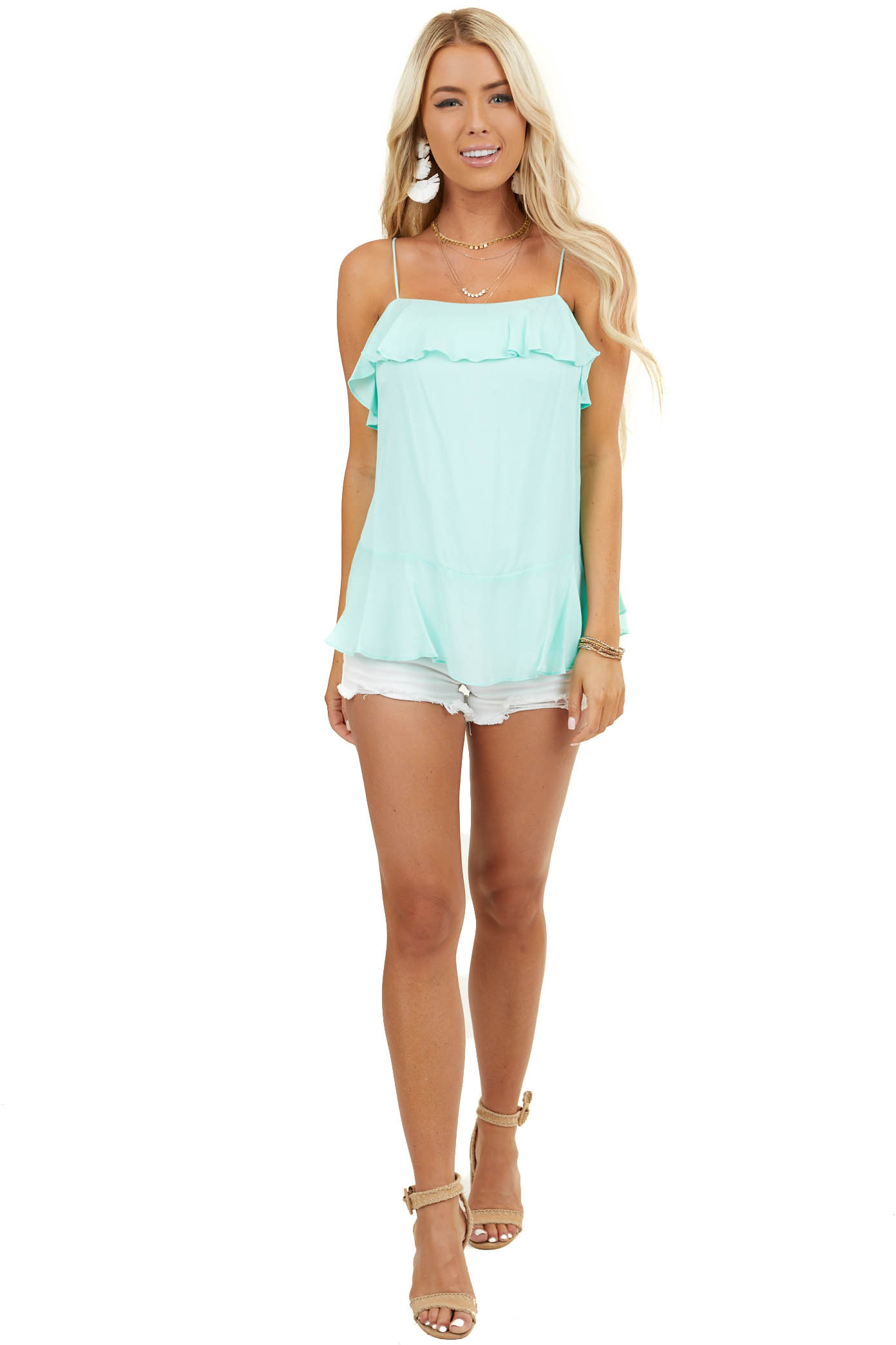 Mint Sleeveless Woven Top with Ruffle Overlay Details
