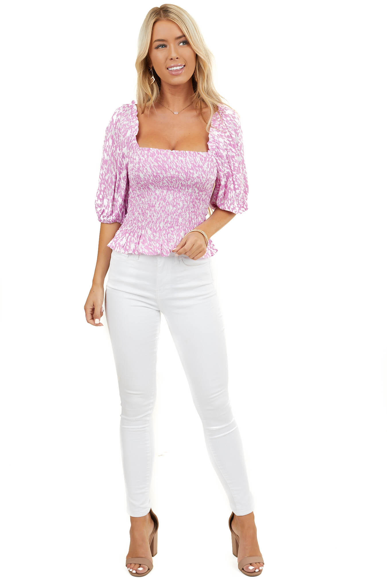 Magenta and White Patterned Smocked Top with Bubble Sleeves