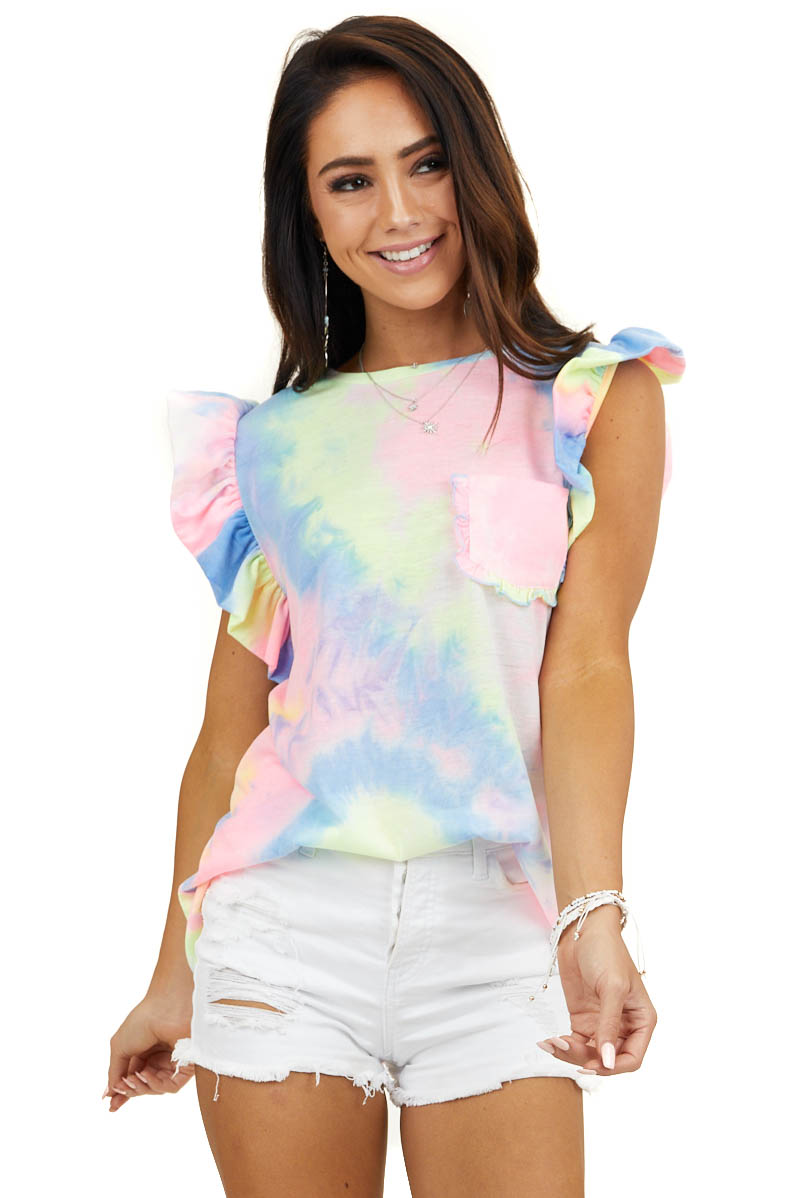 Tie Dye Top with Short Ruffle Sleeves and Pocket