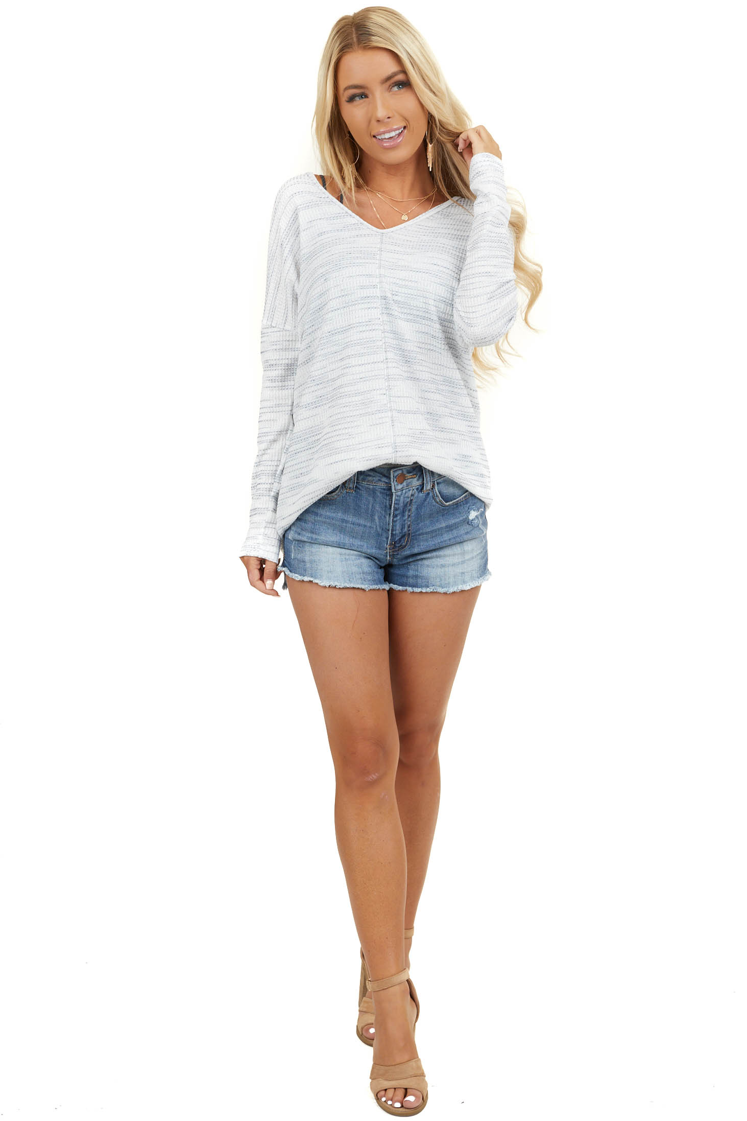 Off White and Grey Waffle Knit Long Sleeve V Neck Top