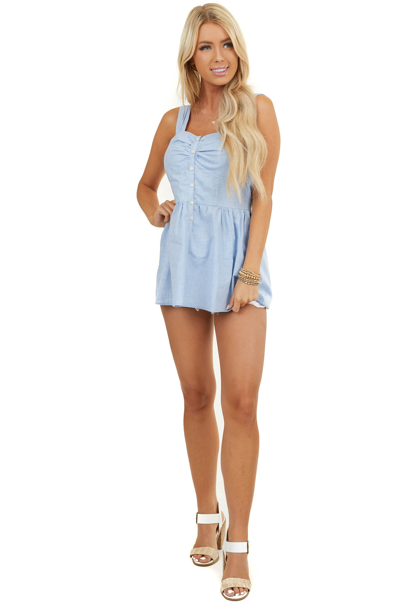 Powder Blue Babydoll Tank Top with Ivory Button Up Detail