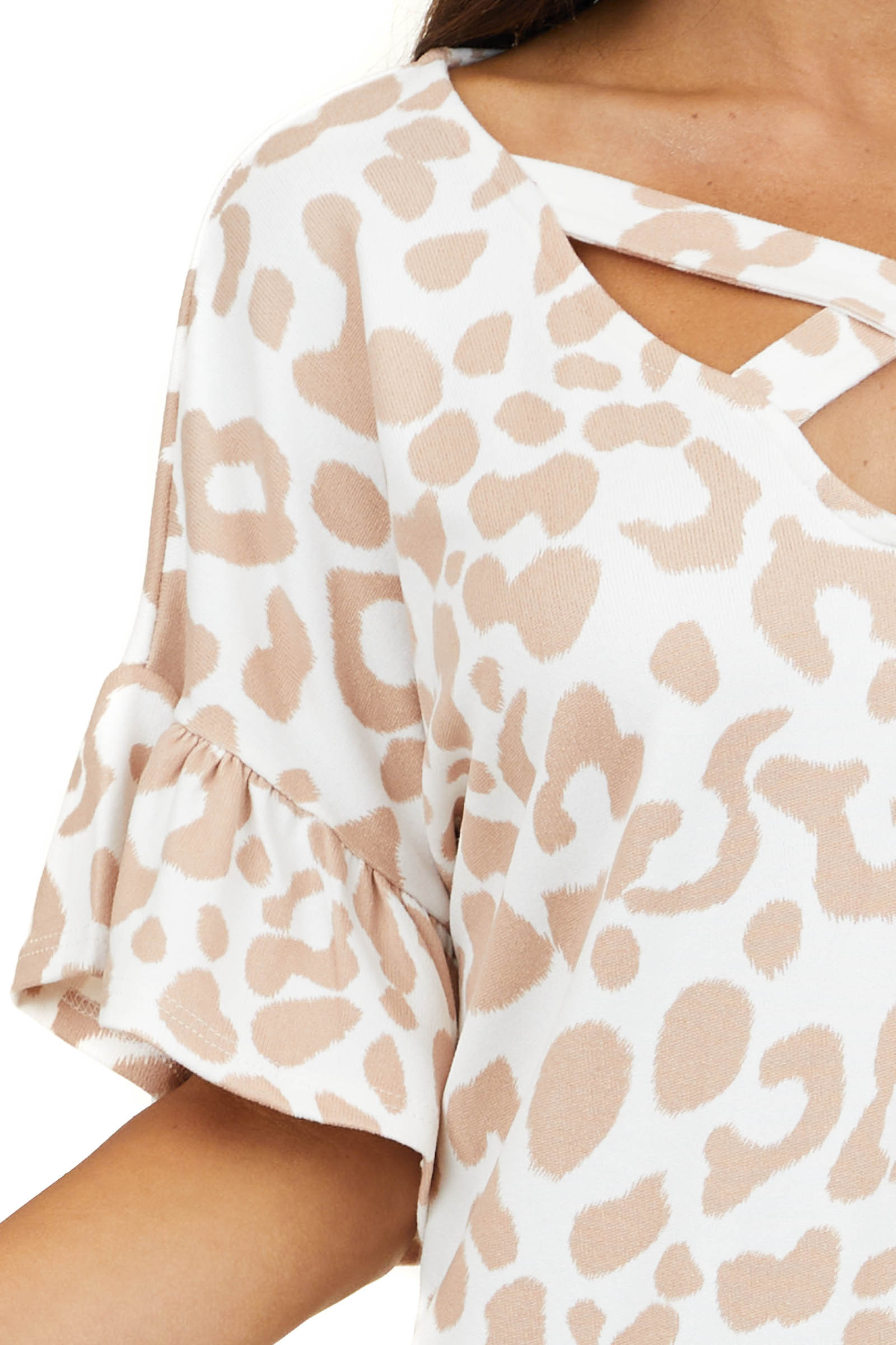 Ivory Leopard Super Soft Top with Front Criss Cross Detail