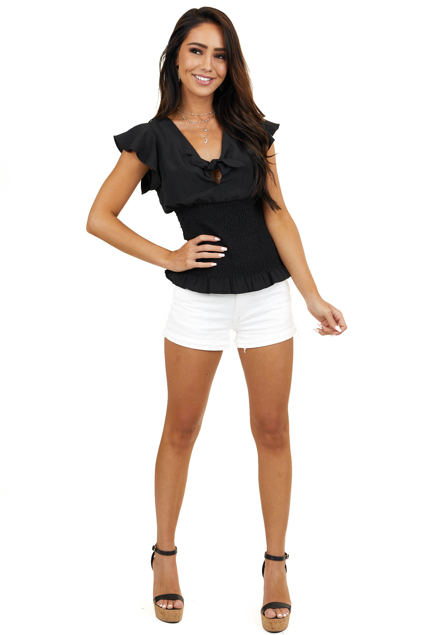 Black Short Sleeve Top with Front Tie and Smocking Details