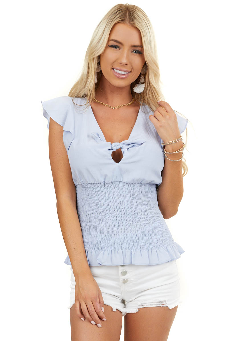 Sky Blue Short Sleeve Top with Front Tie and Smocking Detail