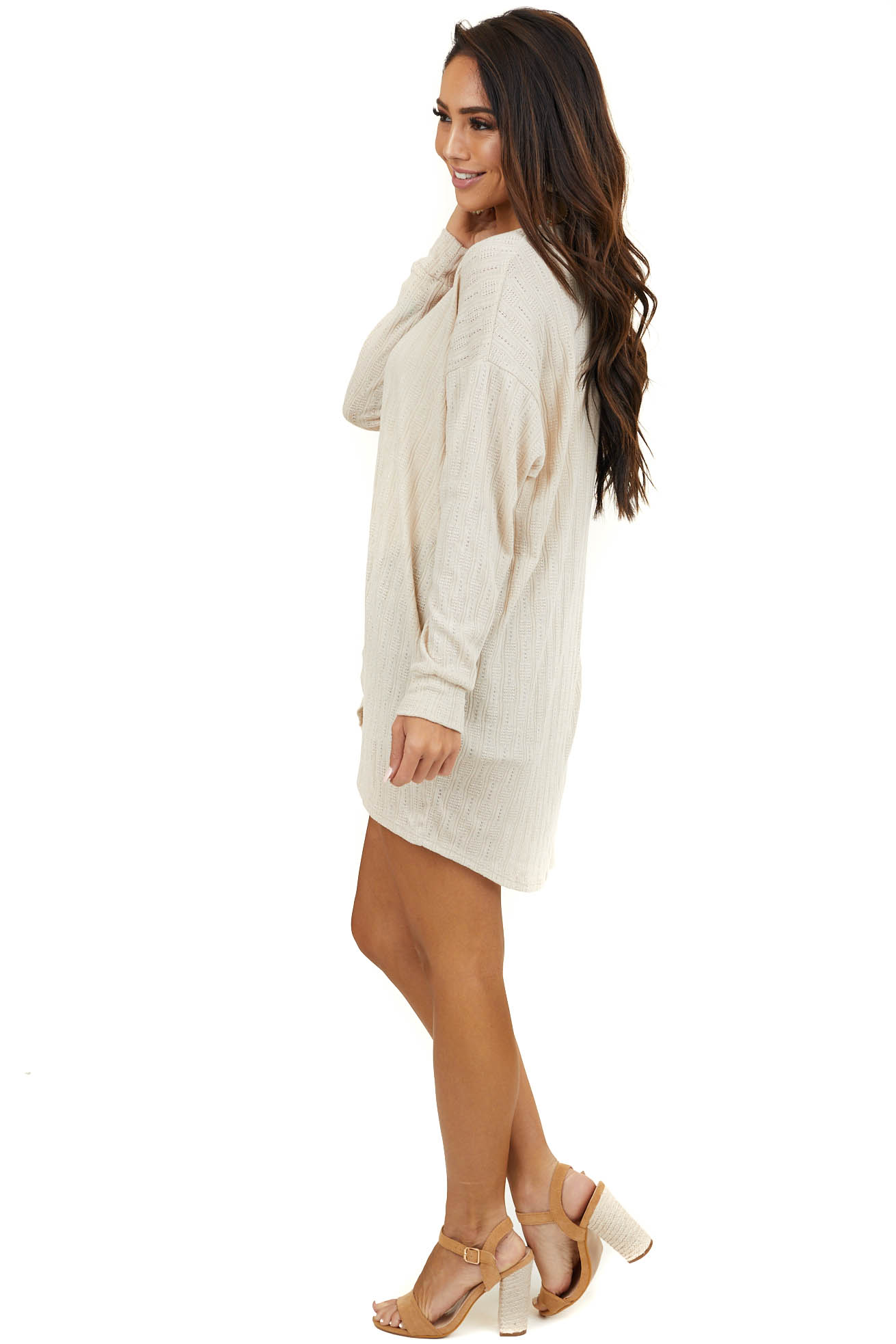 Tan Textured Long Sleeve Open Front Knit Cardigan