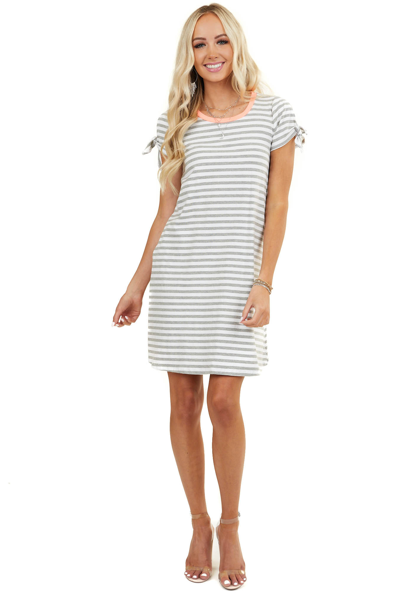 Heather Grey Striped Dress with Neon Coral Trim and Pockets