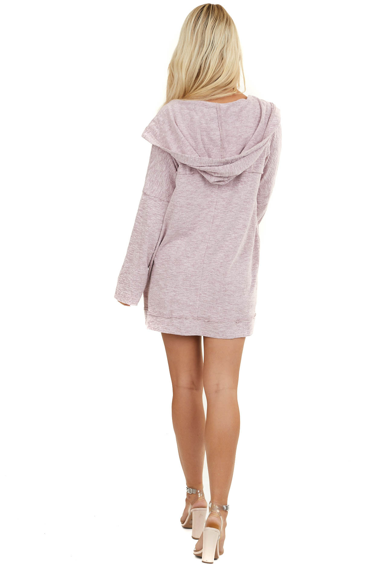 Heathered Mauve Hooded Cardigan with Front Pockets