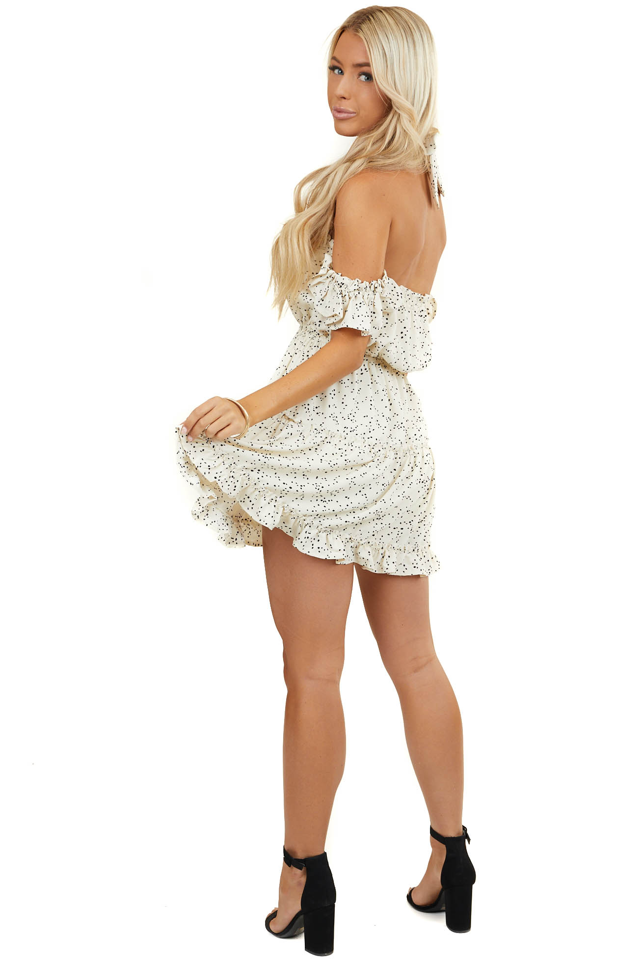 Cream Dot Printed Off Shoulder Dress with Ruffles with Tie