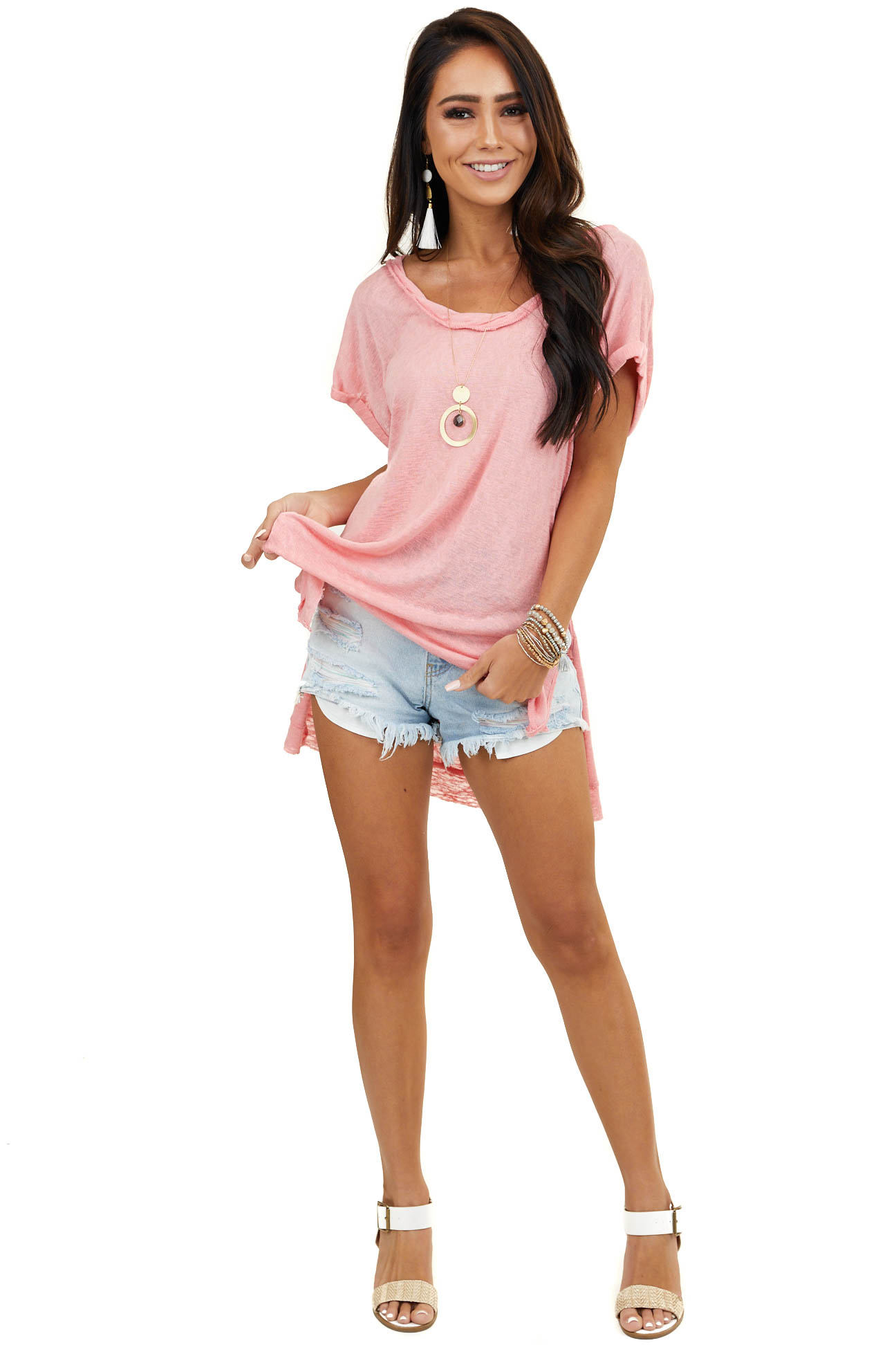 Coral Short Sleeve Dolman Top with Twisted Neckline