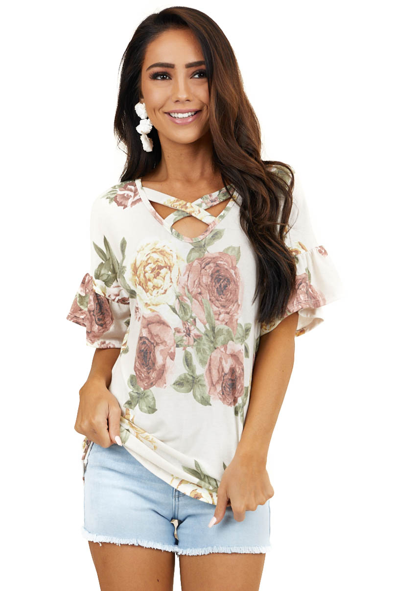Cream Floral Ruffle Sleeve Top with Criss Cross Detail