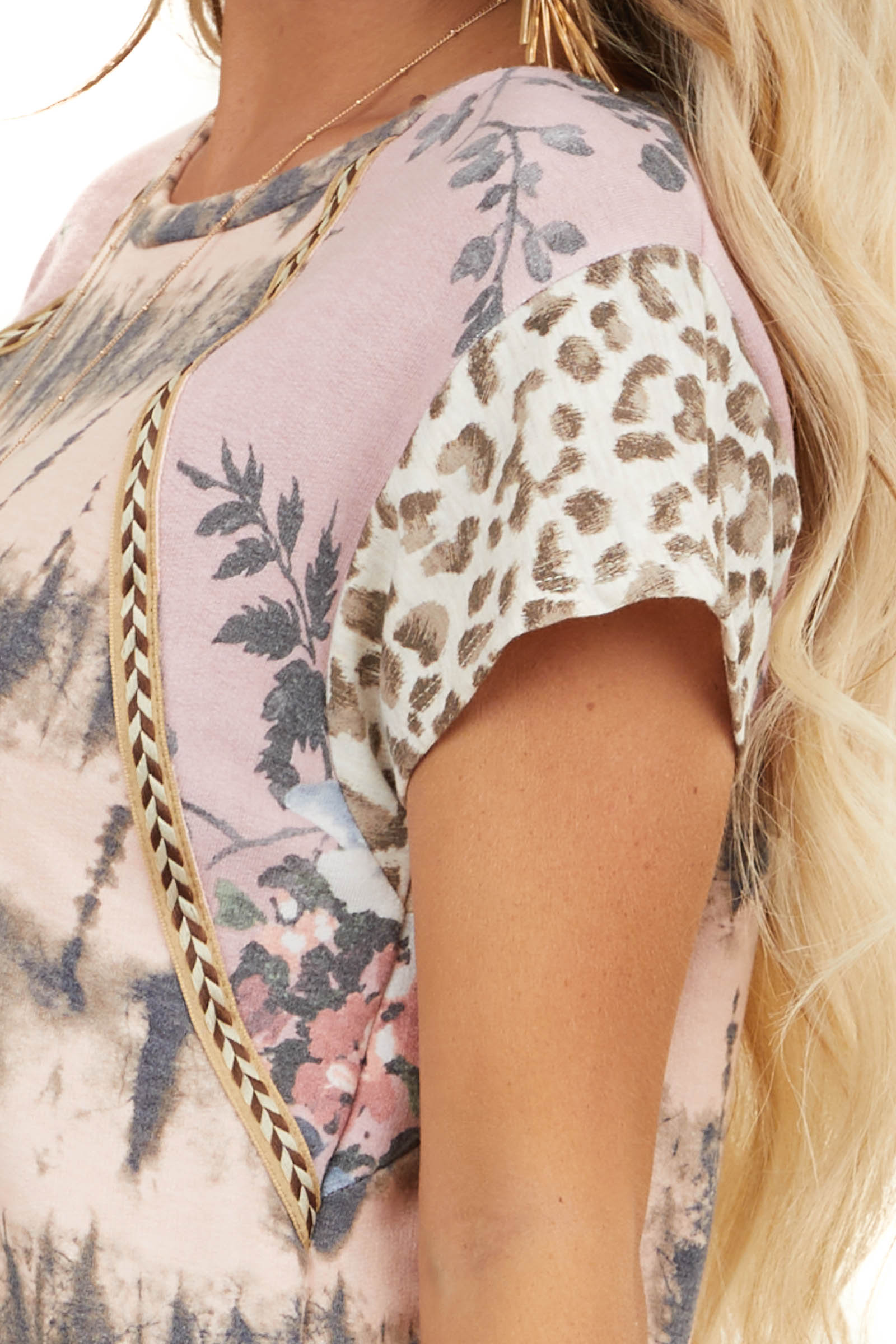 Blush Multiprint Knit Top with Contrast Short Sleeves