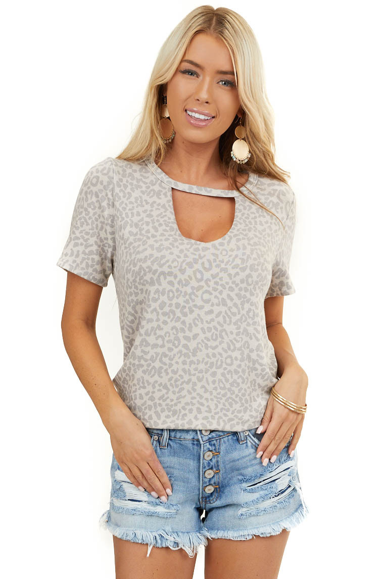 Beige and Latte Leopard Print Top with Cutout Detail