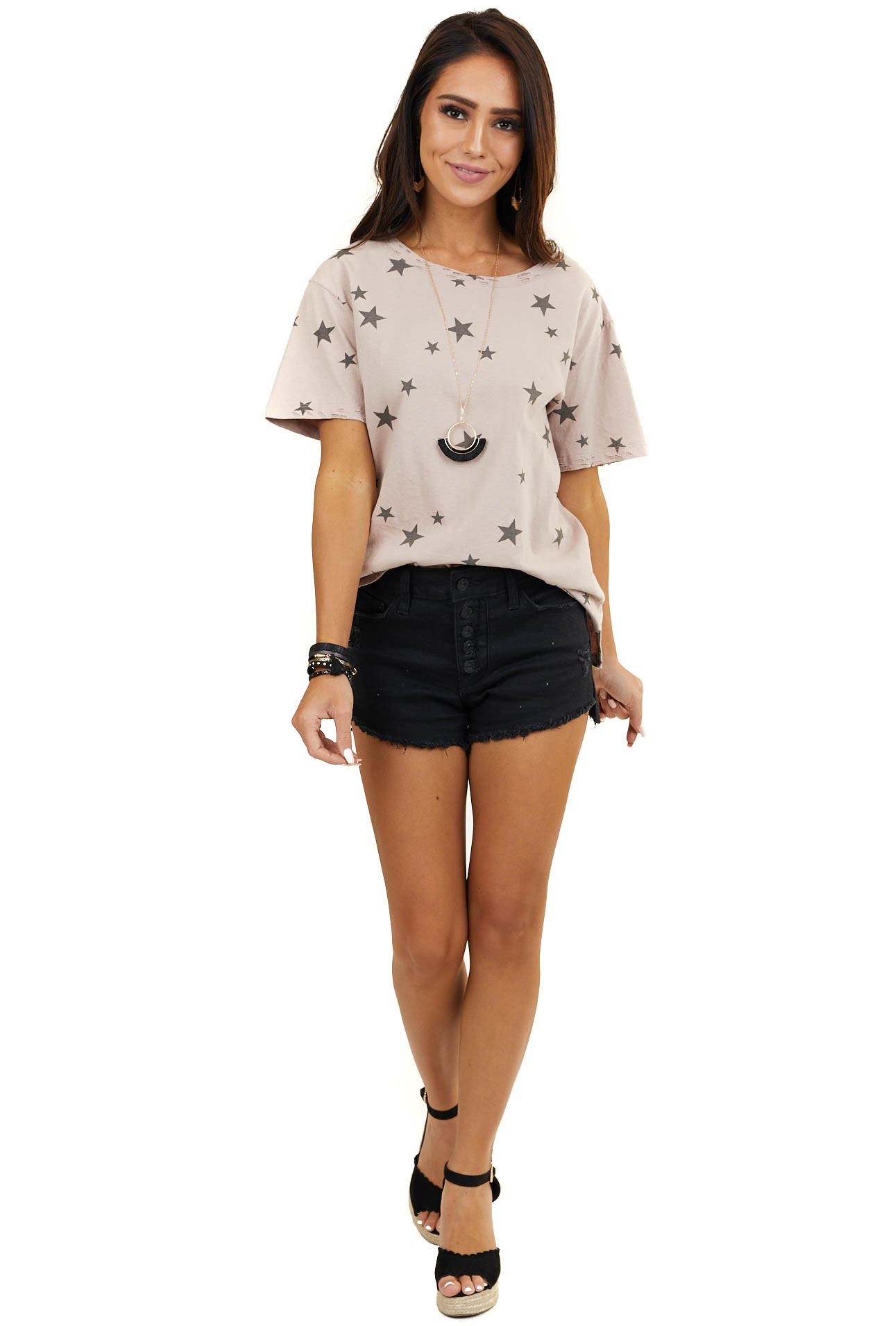 Dusty Rose Star Print Short Sleeve Top with Laser Cut Detail