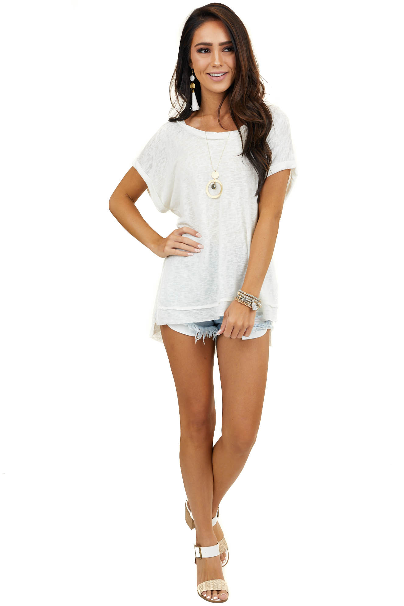 Cream Short Sleeve Dolman Top with Twisted Neckline