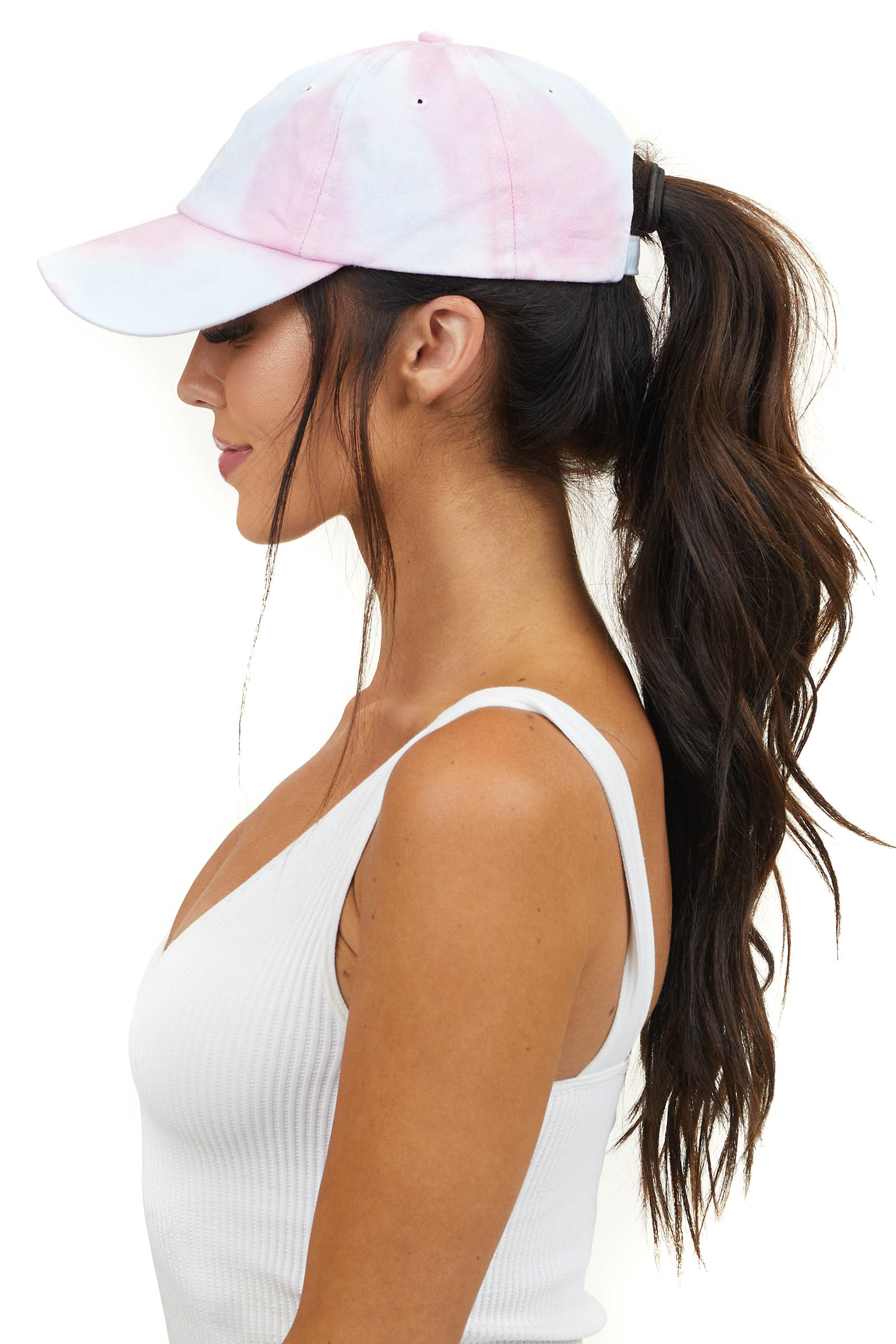 Baby Pink and Pale Blue Tie Dye Adjustable Baseball Cap