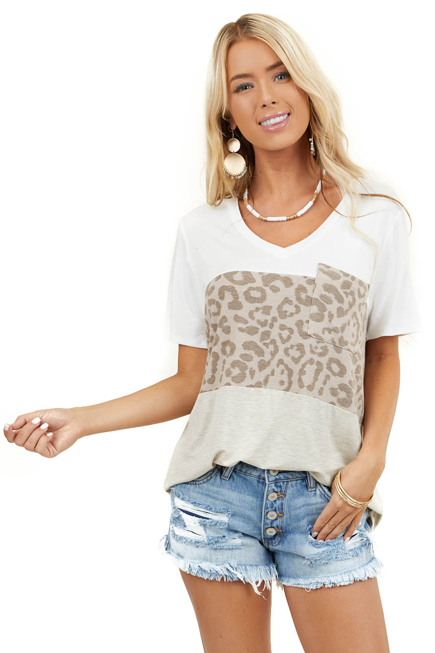 Heathered Beige and Latte Leopard Print Colorblock Top