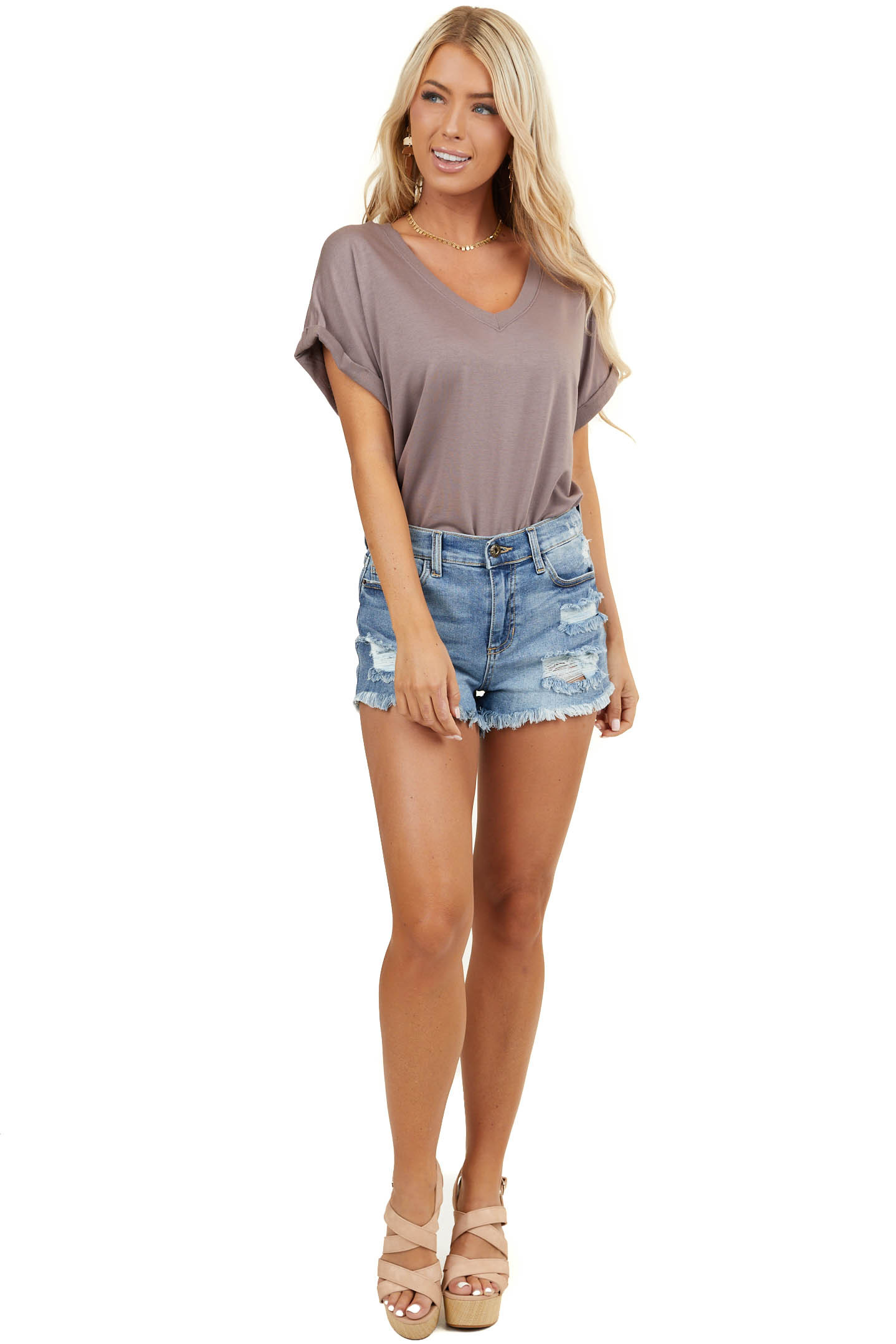 Dusty Lavender V Neck Bodysuit with Cuffed Short Sleeves
