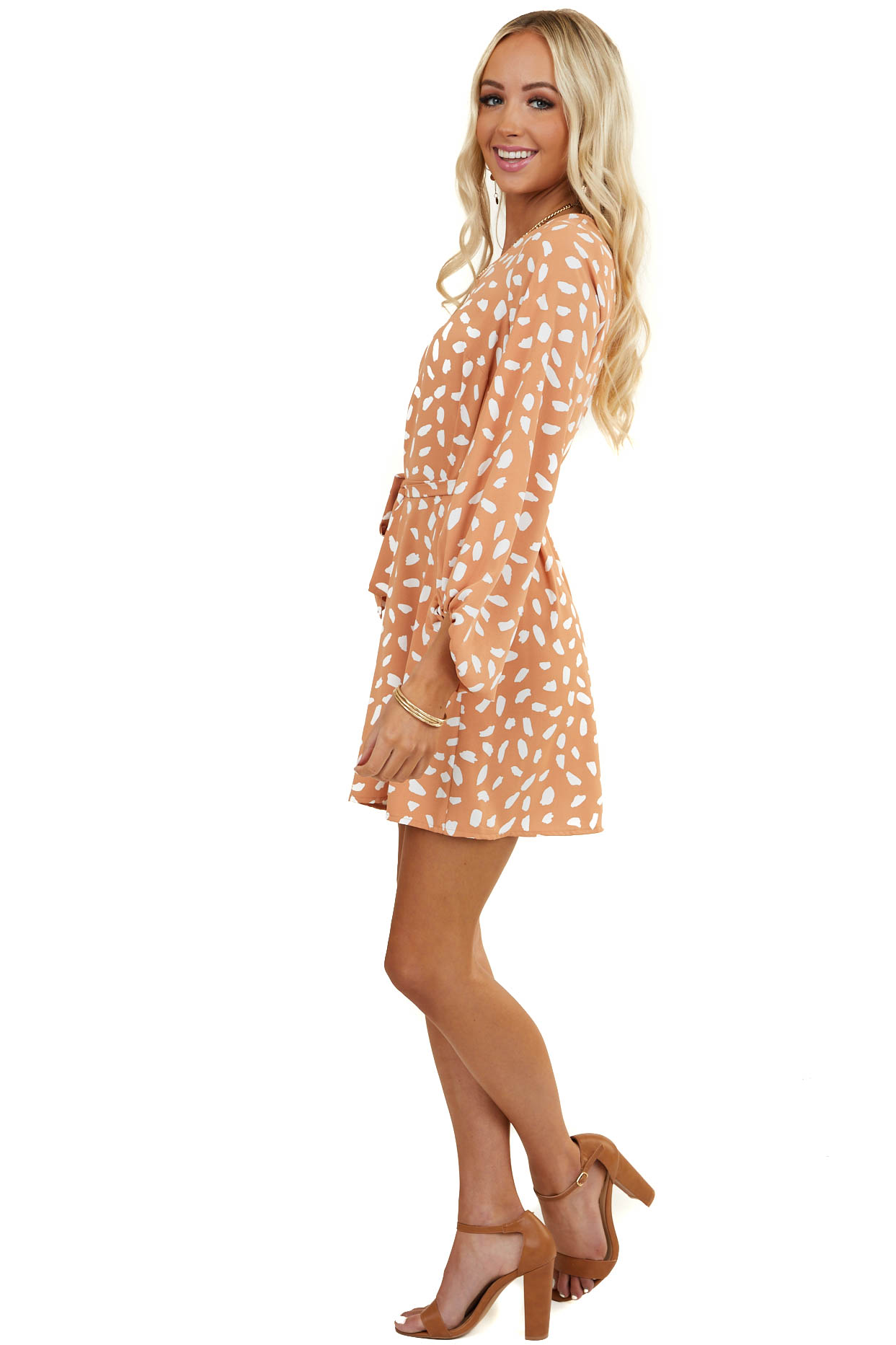 Caramel and Off White Short Dress with Long Bubble Sleeves