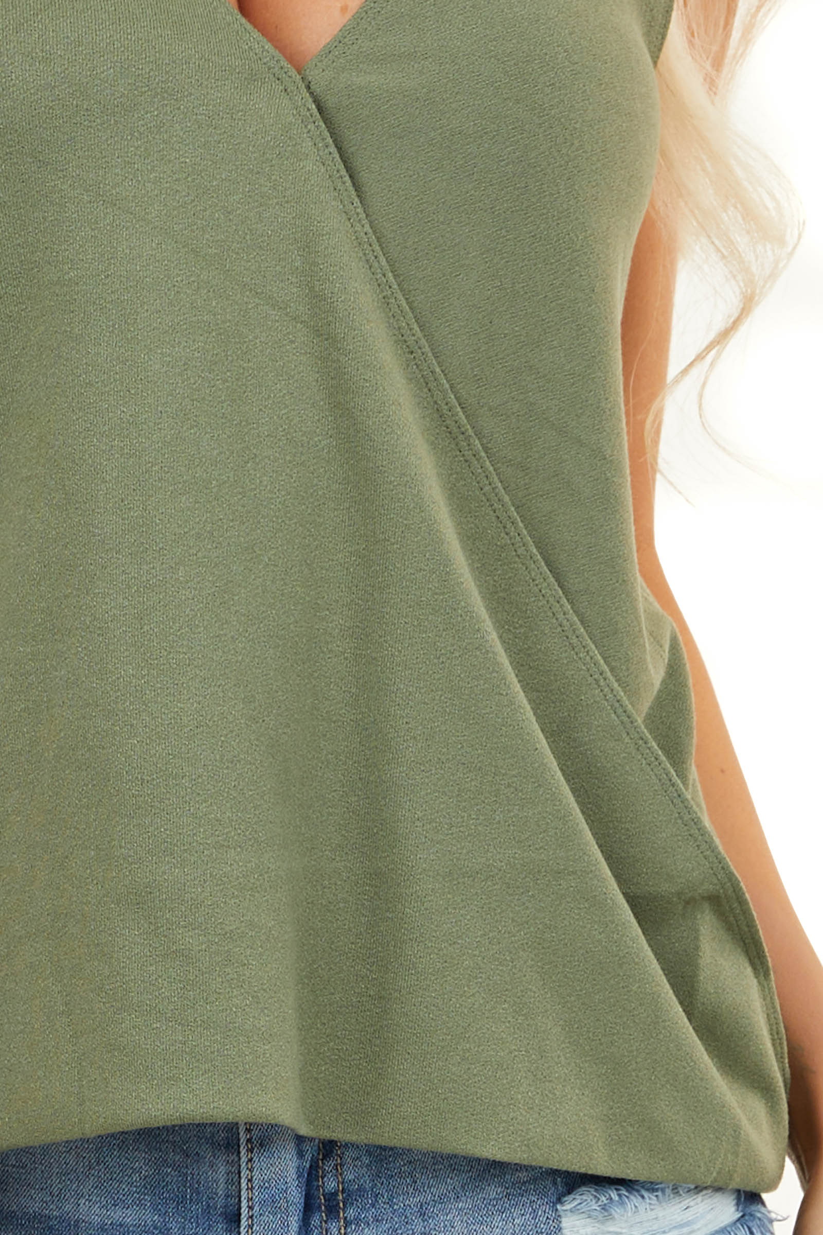 Olive Surplice Knit Tank Top with Front Twist Detail