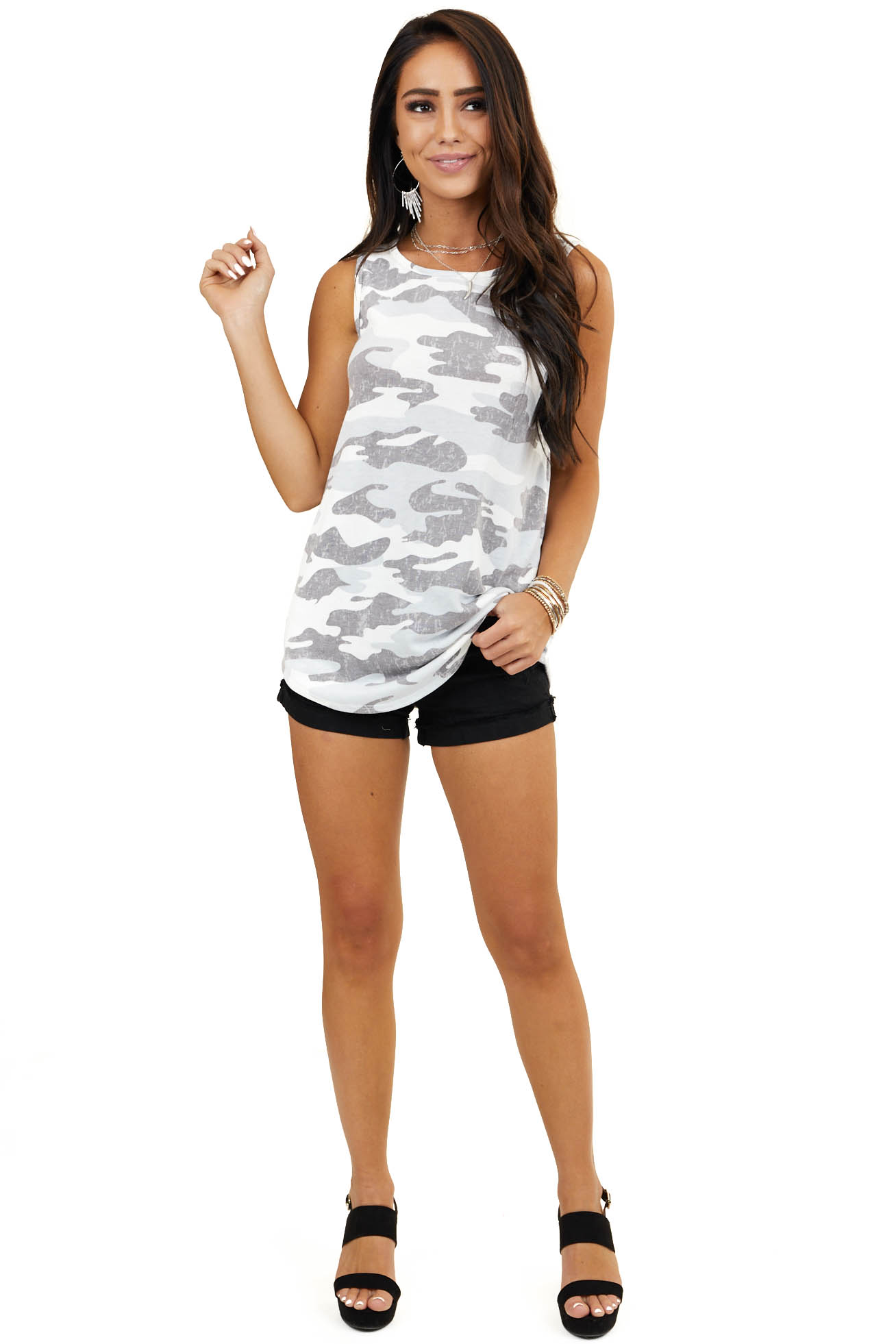Baby Blue and Off White Camo Print Sleeveless Knit Top