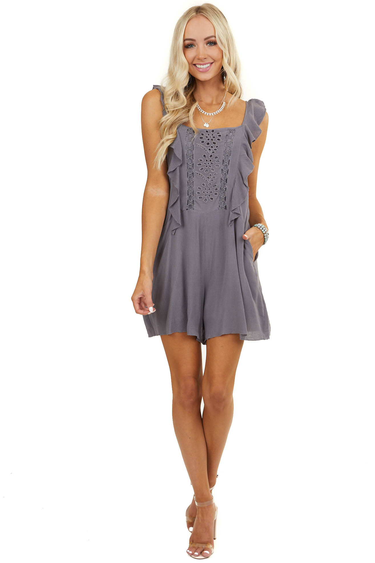 Charcoal Sleeveless Romper with Ruffle and Lace Details