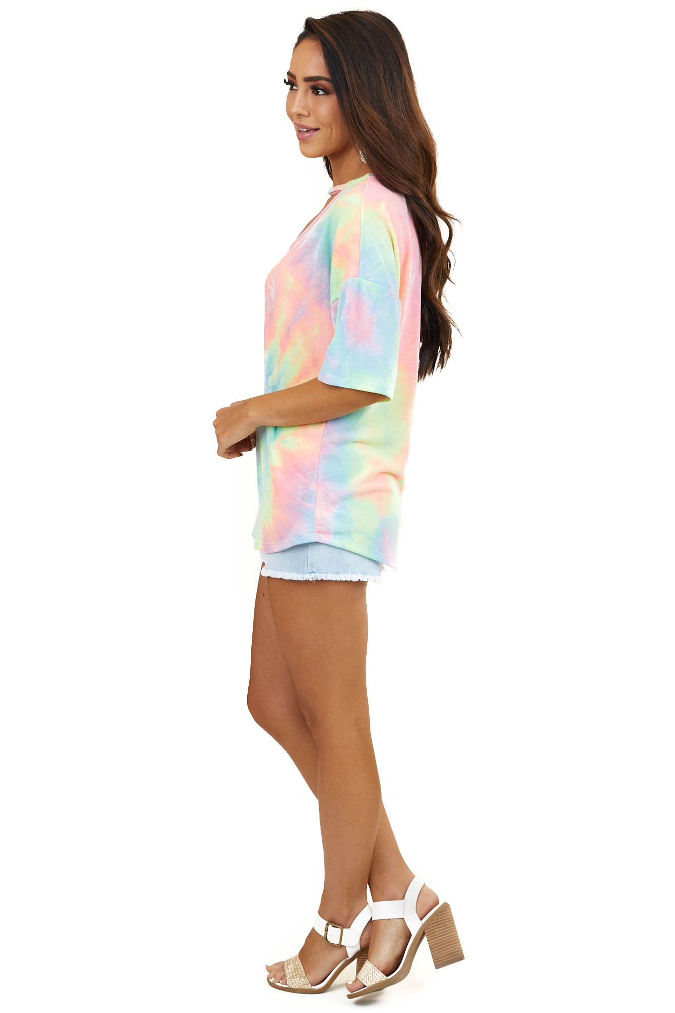 Multicolor Tie Dye Short Sleeve Top with Front Cutout Detail
