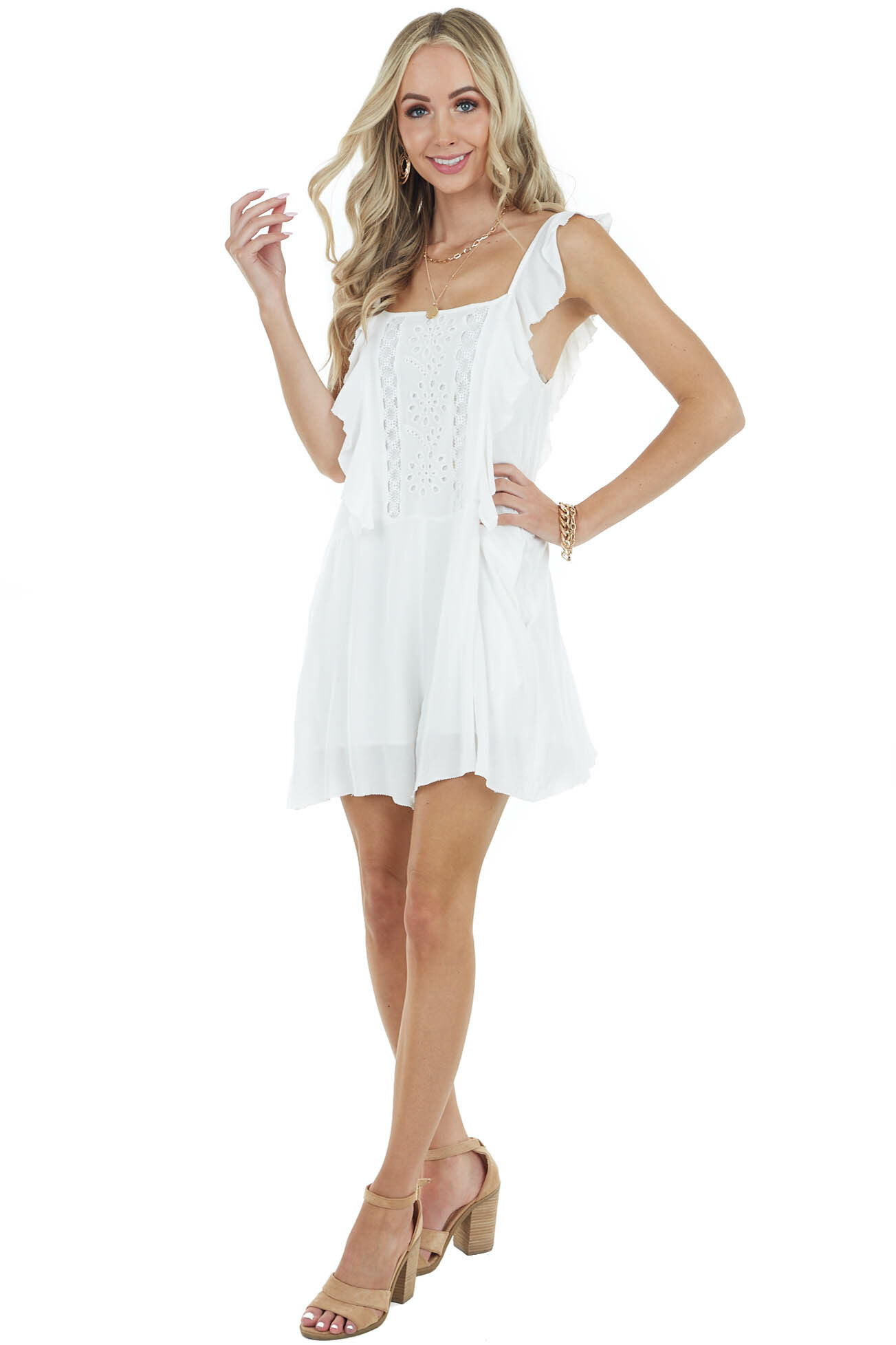 Ivory Sleeveless Romper with Ruffle and Lace Details
