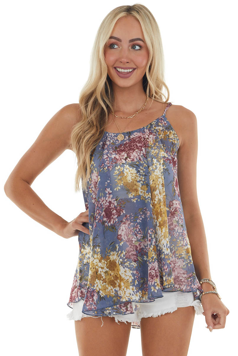 Steel Blue Floral Print Woven Tank Top with Spaghetti Straps