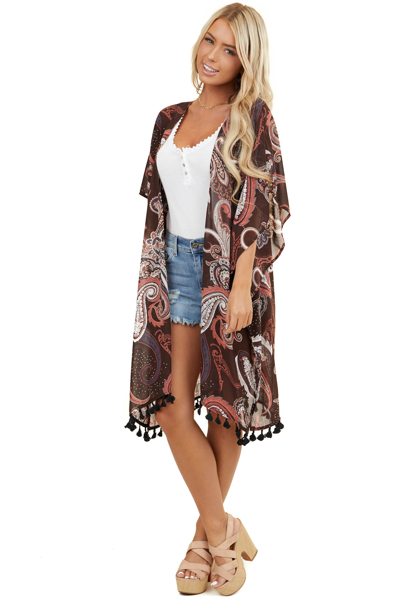Chocolate Paisley Print Lightweight Kimono and Tassel Detail