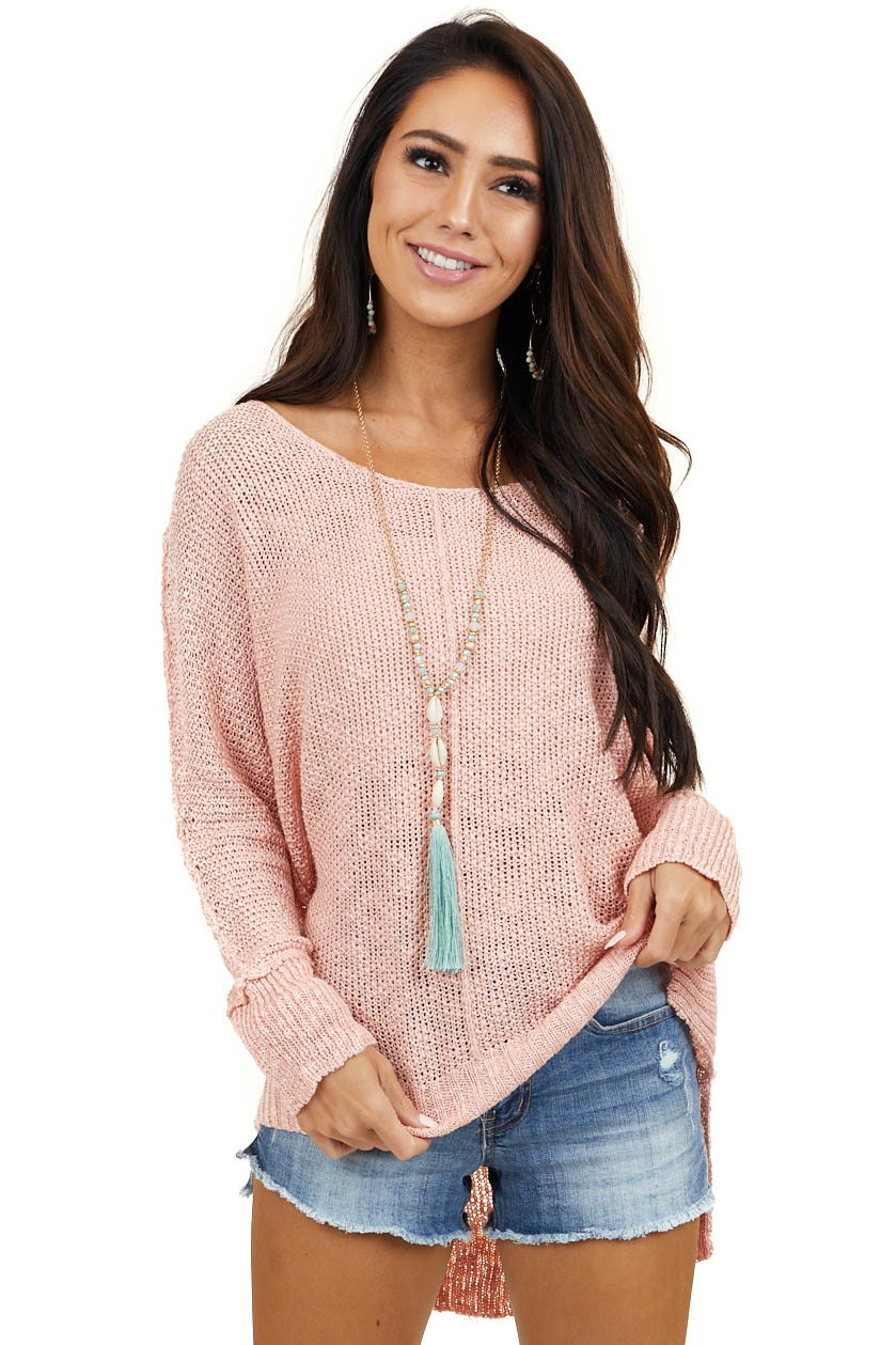 Blush Pink Knit Lightweight Sweater with Long Sleeves