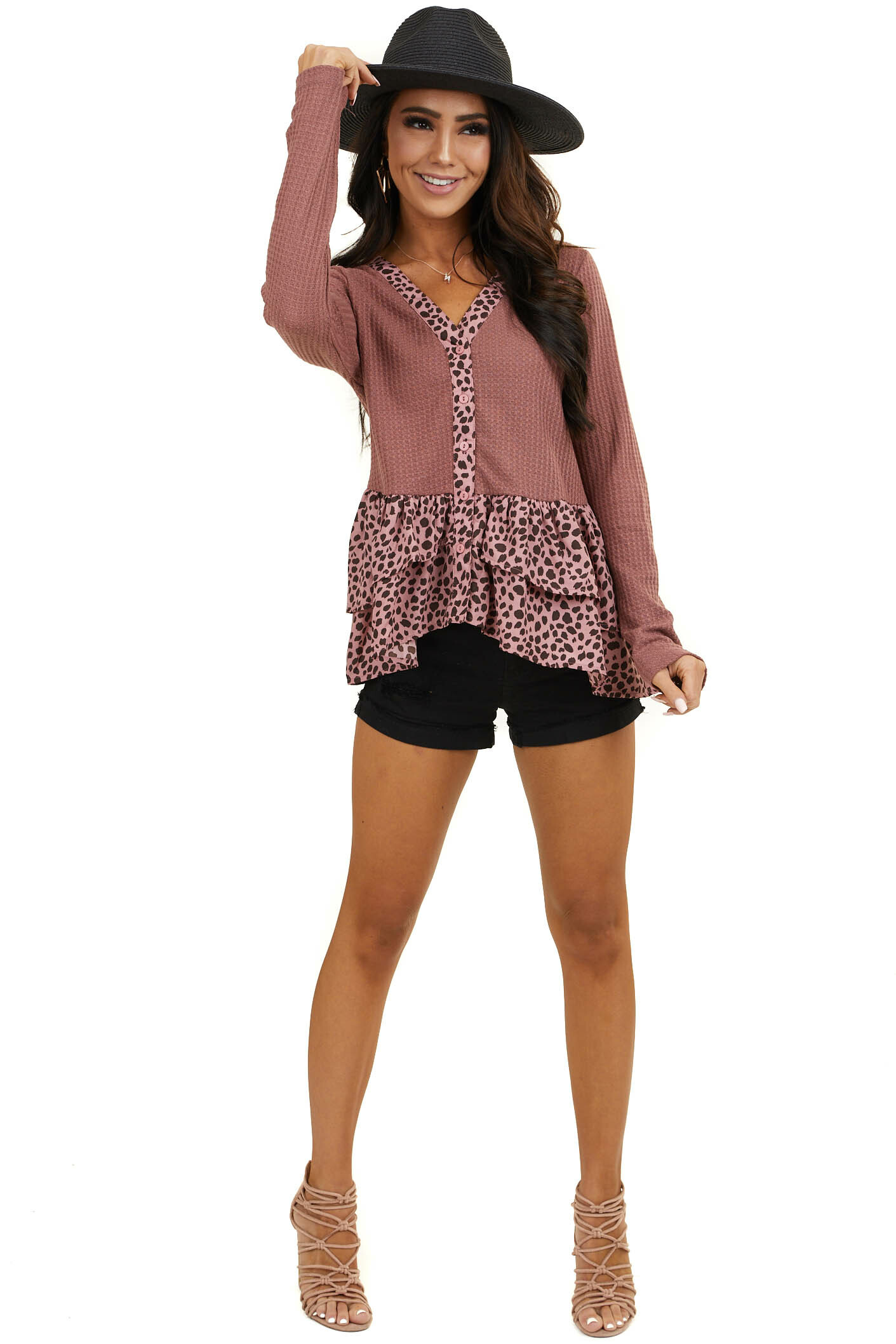 Marsala Leopard Print Button Down Knit Top with Long Sleeves