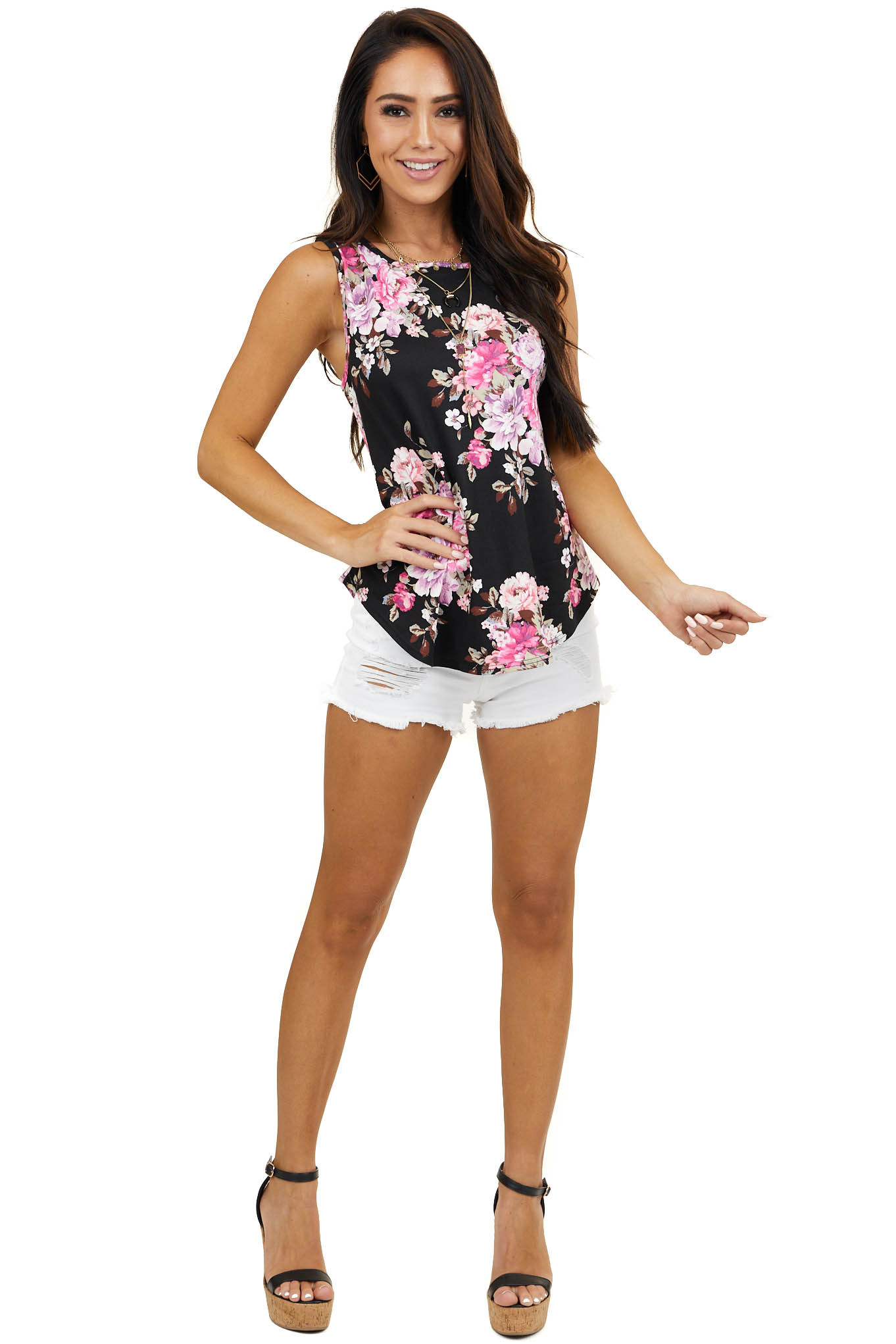 Black Floral Print Knit Tank Top with Rounded Hemline