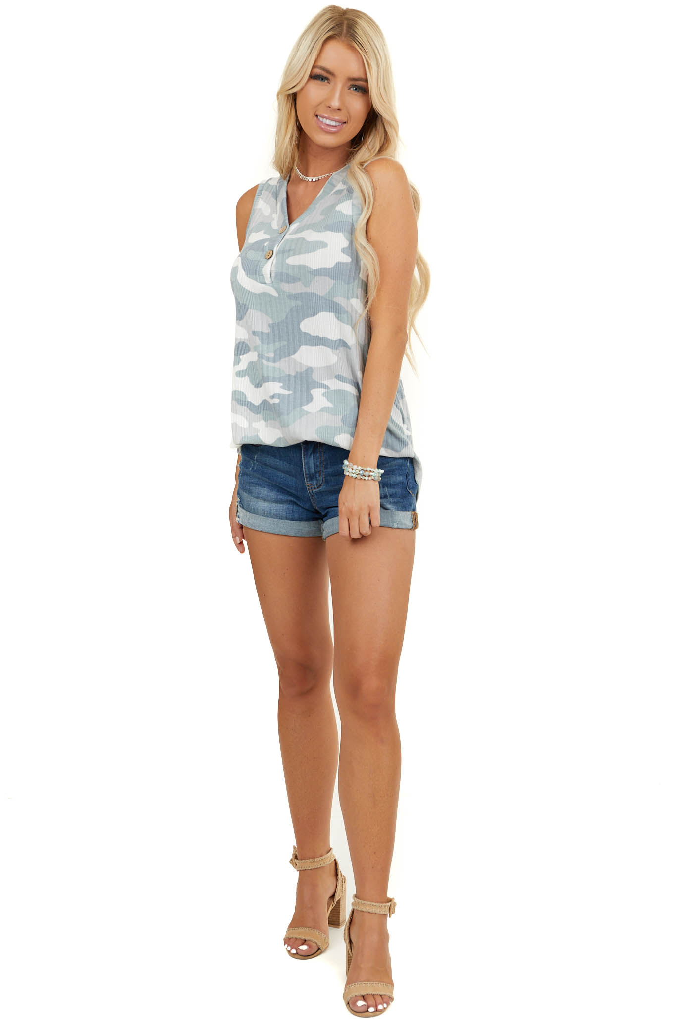 Sage Camo Ribbed Knit Tank Top with Wood Button Details