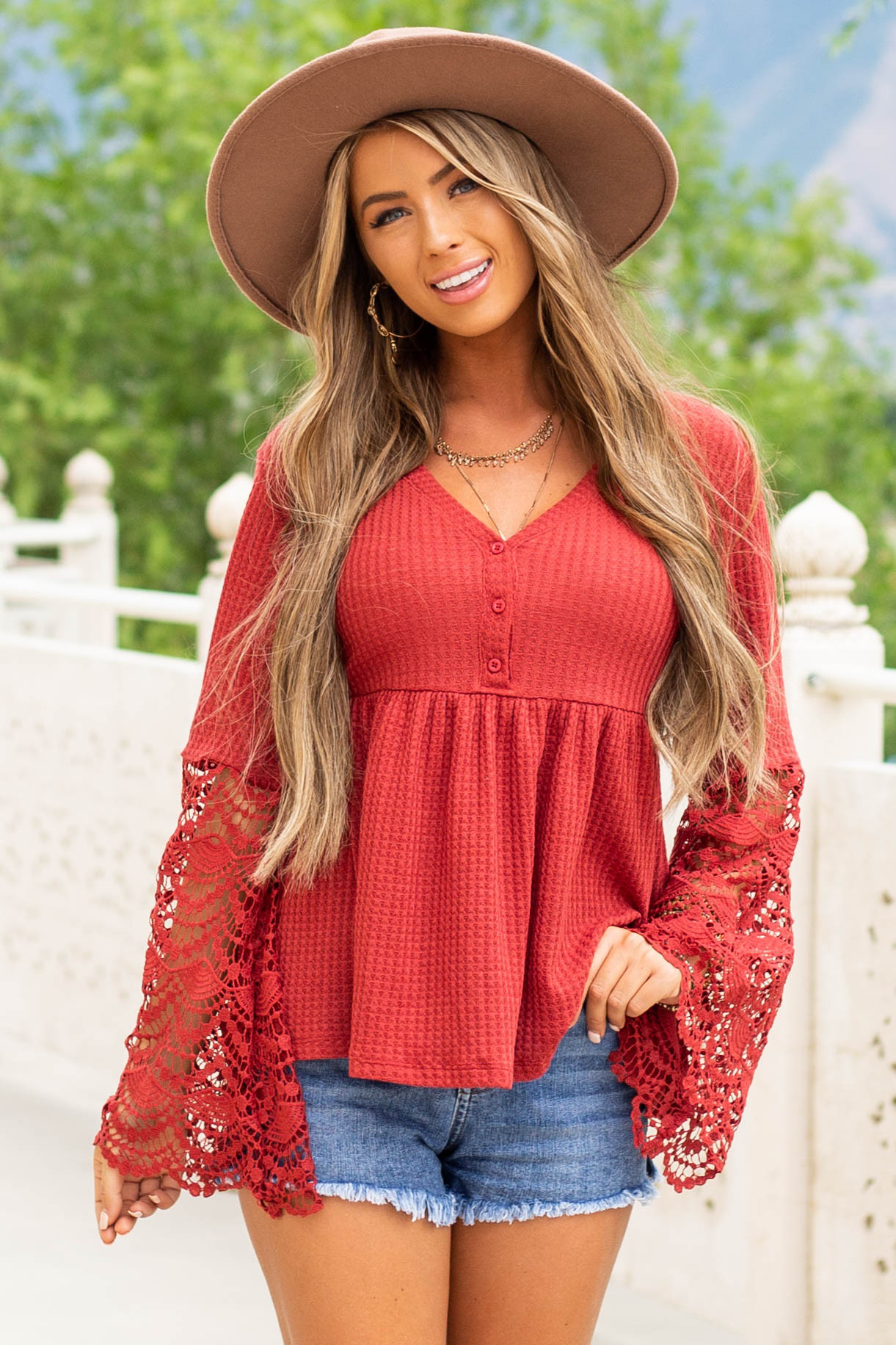 Cherry Long Sleeve Waffle Knit Henley Top with Lace Contrast