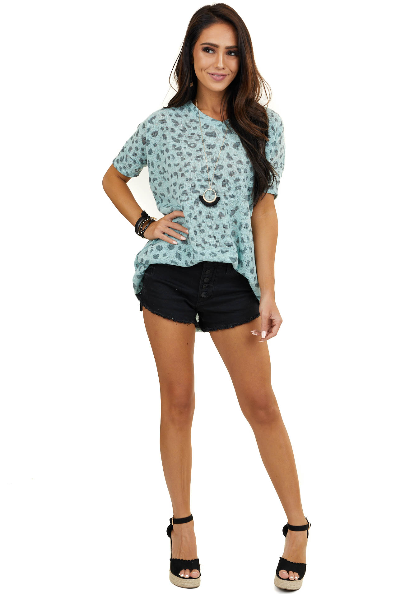 Dark Mint Loose Knit Animal Print Top with Batwing Sleeves