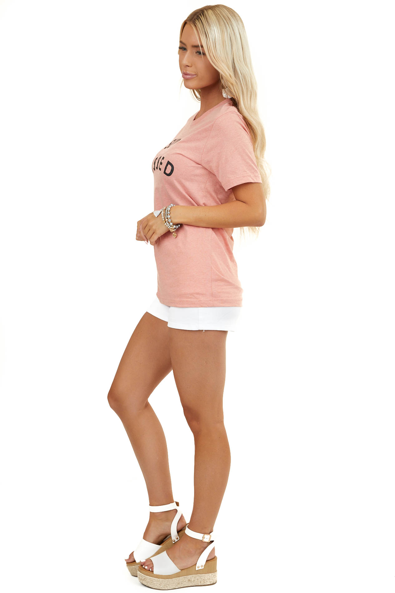 Heathered Salmon Short Sleeve 'Sun Kissed' Graphic Top