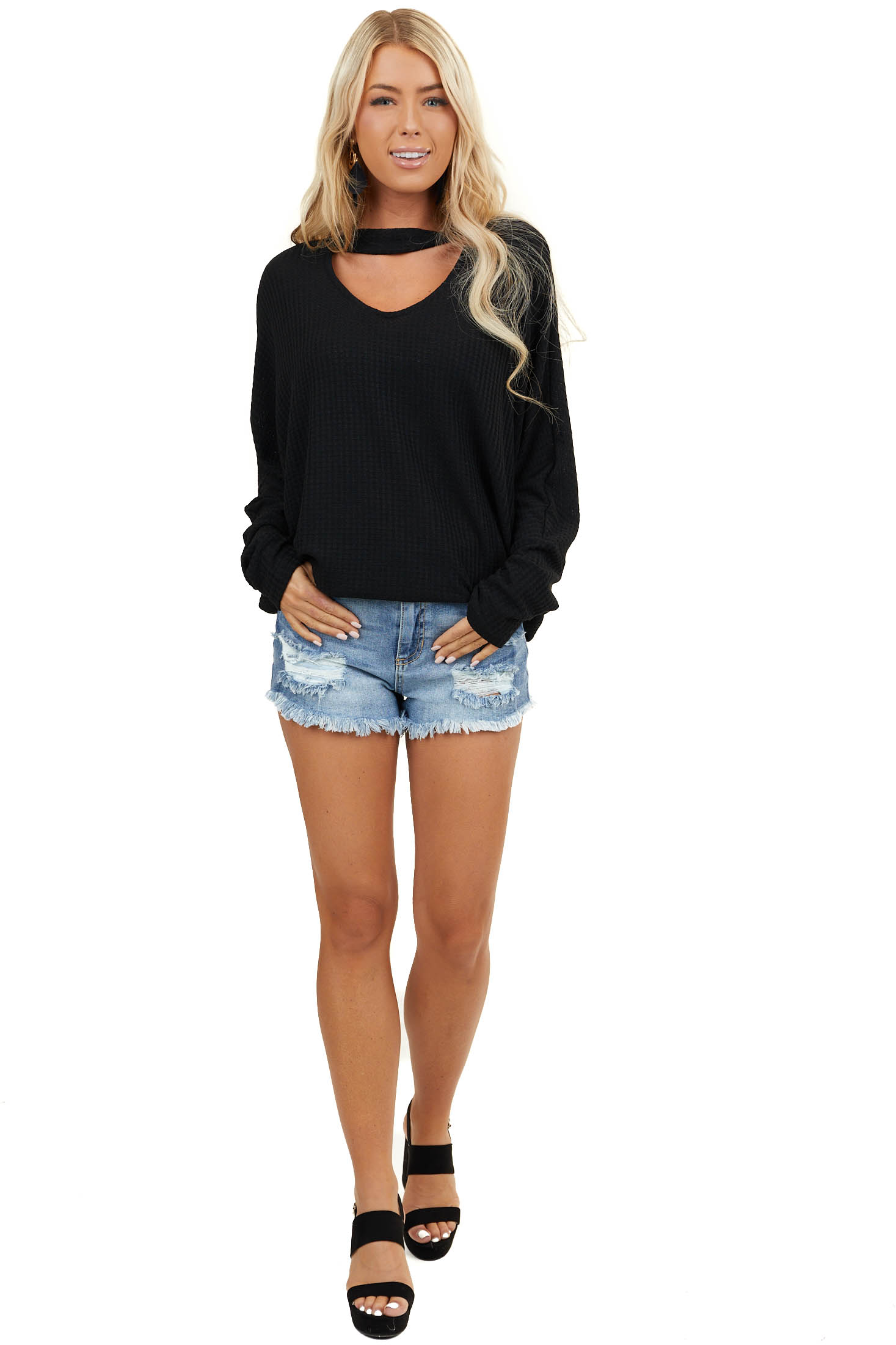Black Long Sleeve Waffle Knit Top with Choker Neck Detail