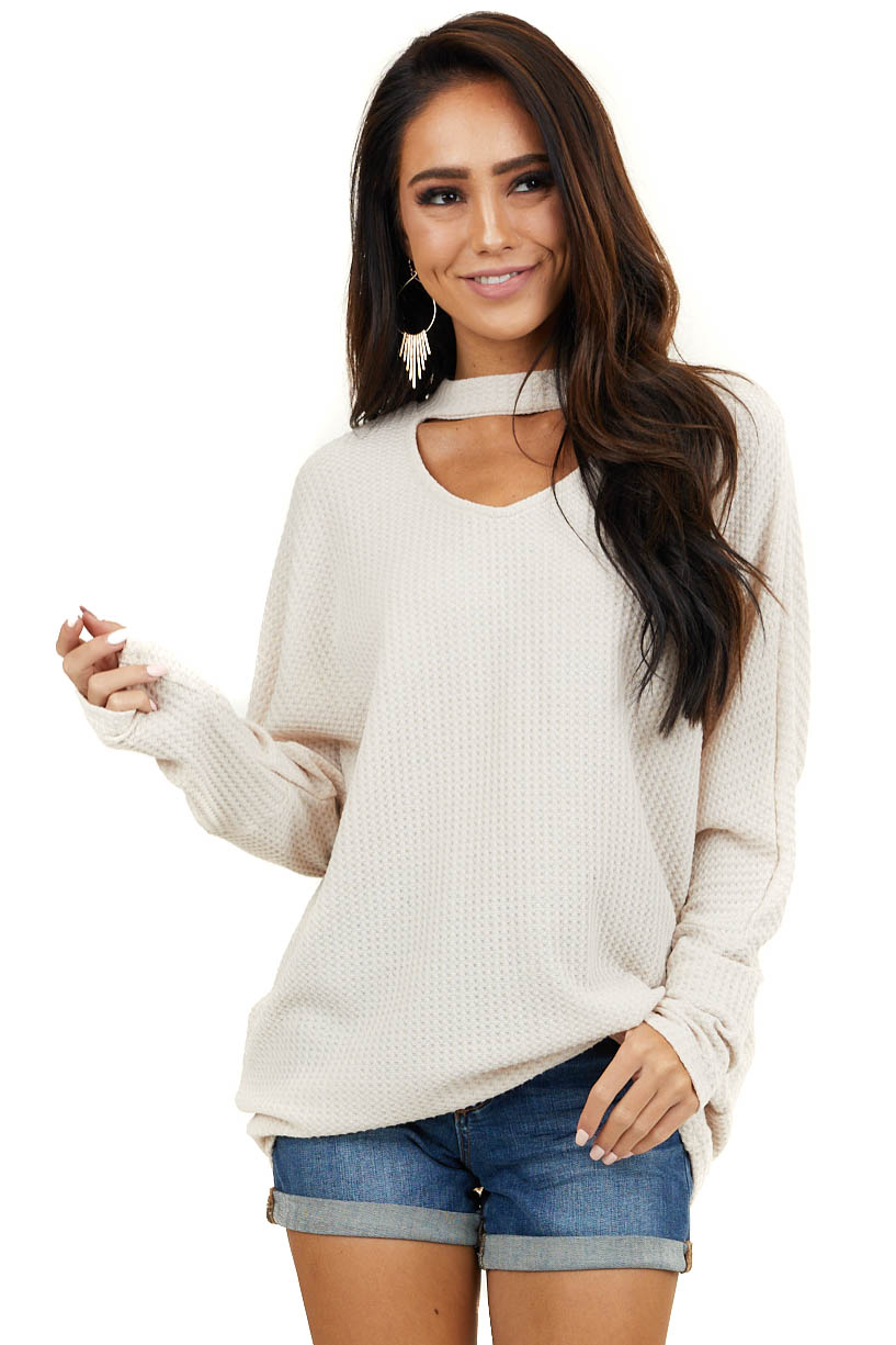 Oatmeal Long Sleeve Waffle Knit Top with Choker Neck Detail