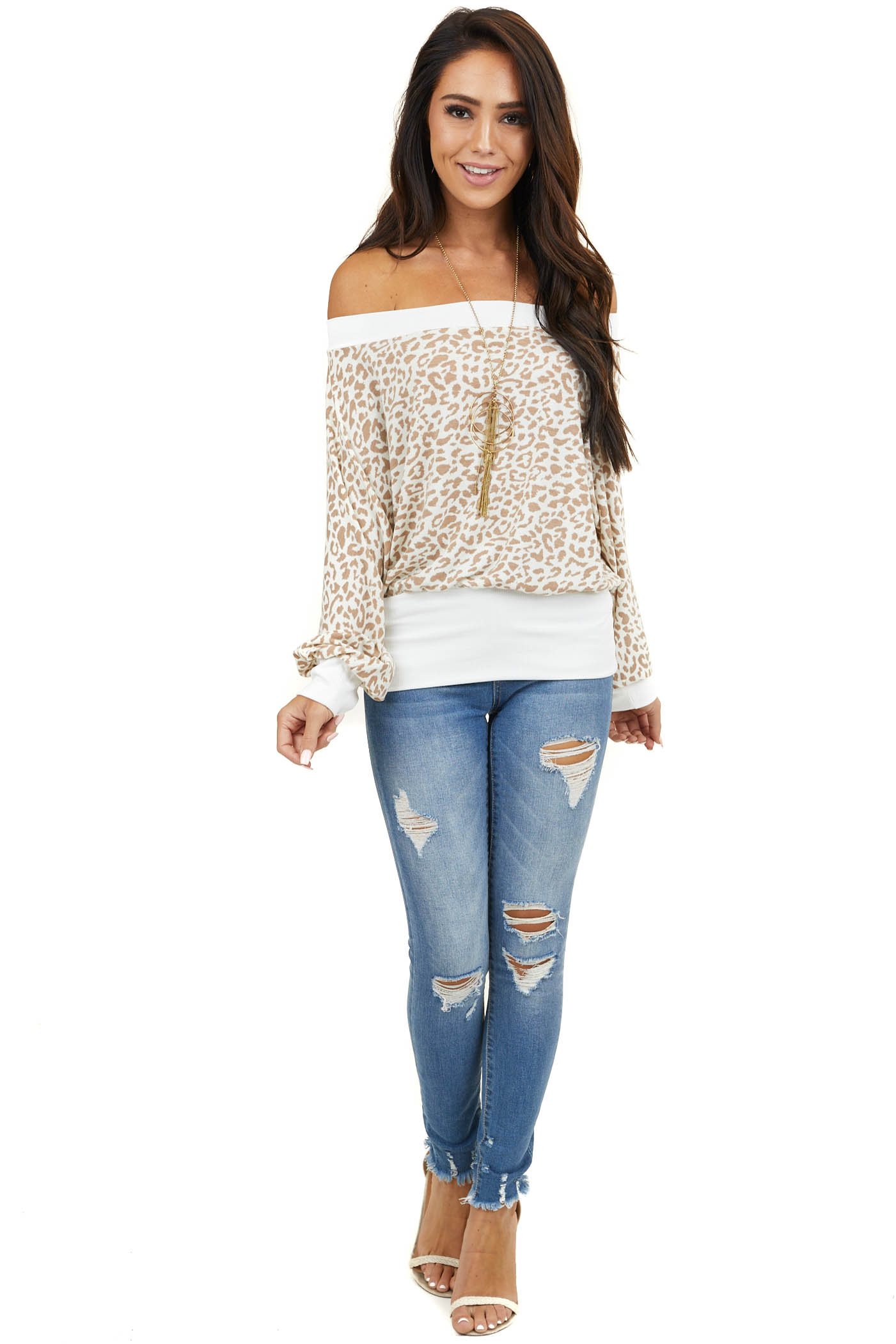 Ivory Leopard Print Off Shoulder Top with 3/4 Bubble Sleeves