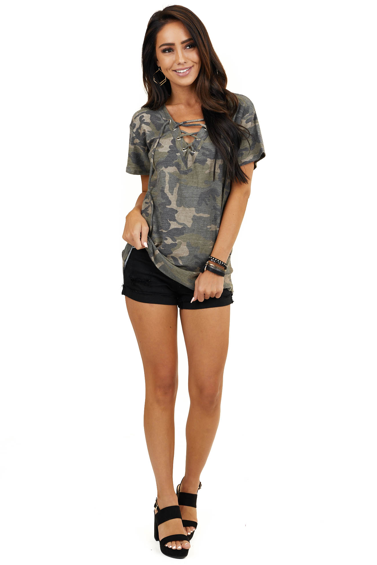 Olive Camo Print Laced Up V Neck Top with Short Sleeves