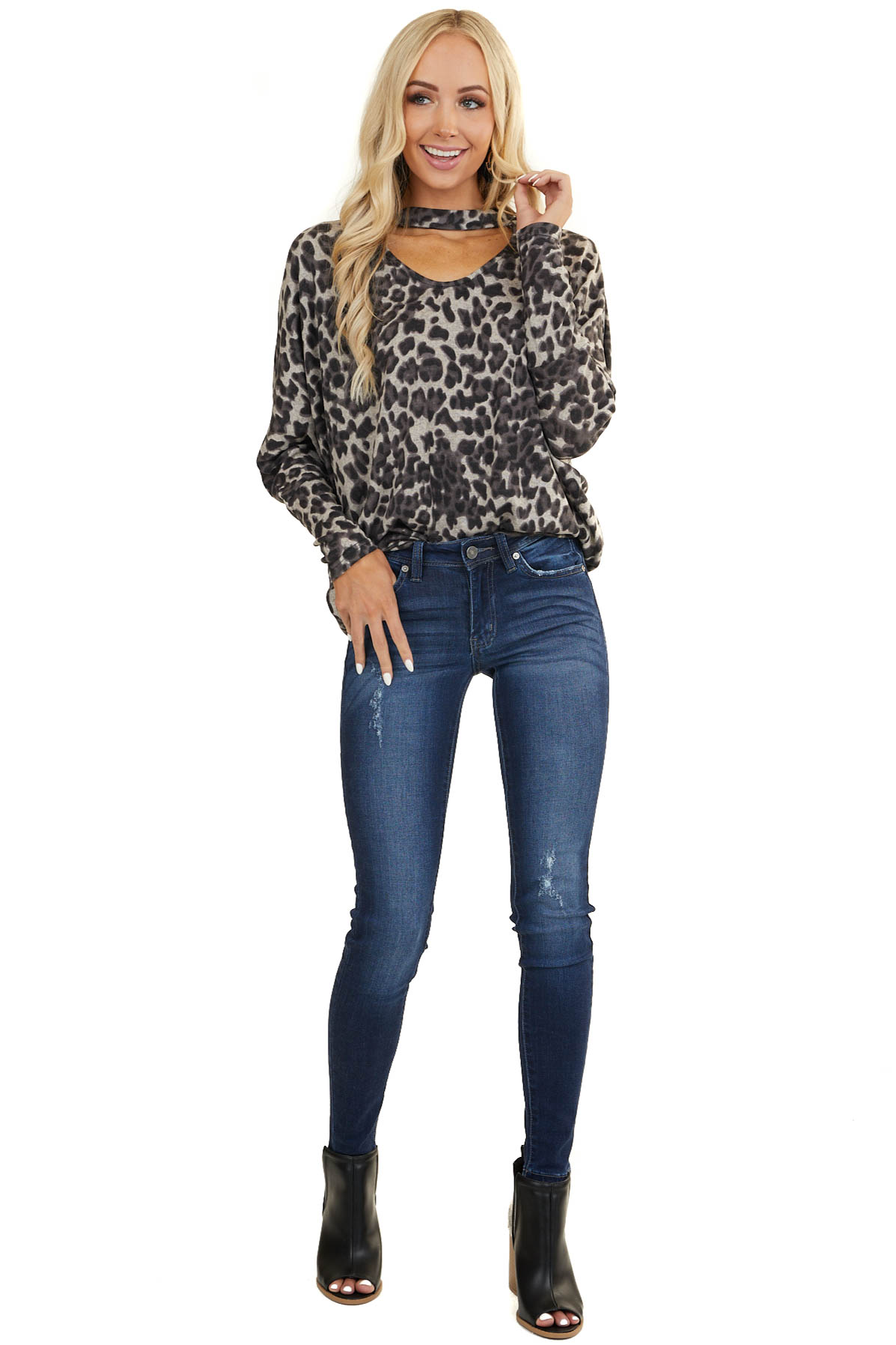 Black Long Sleeve Leopard Print Top with Choker Neck Detail