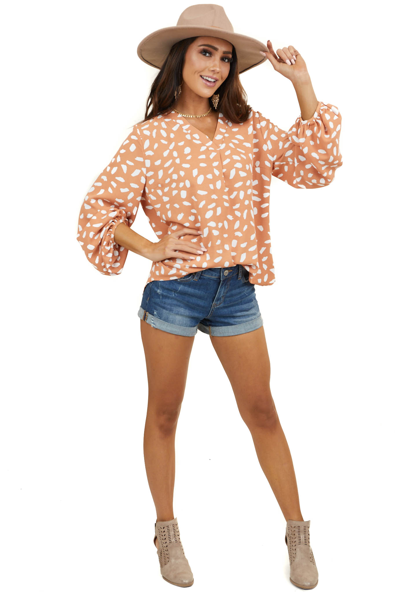 Caramel and Off White Pleated V Neck Top with 3/4 Sleeves