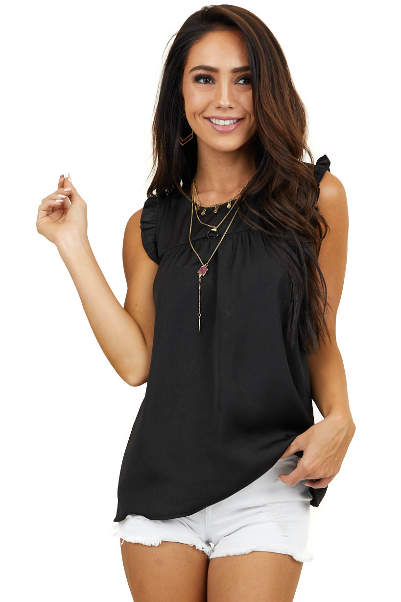 Black Silky Sleeveless Woven Top with Ruffle and Keyhole Back
