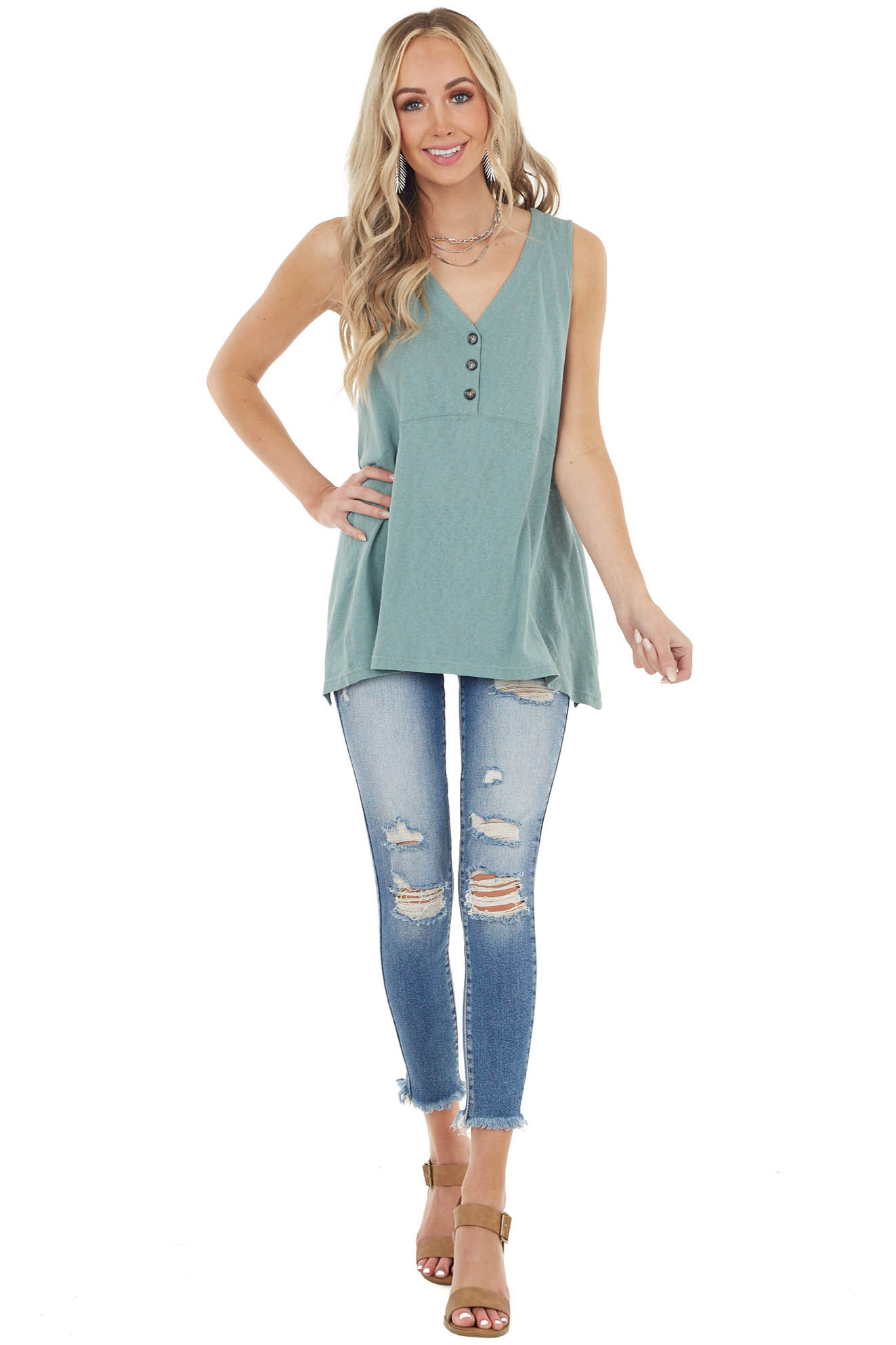 Sage Cotton Sleeveless Babydoll Tunic Top with V Neckline