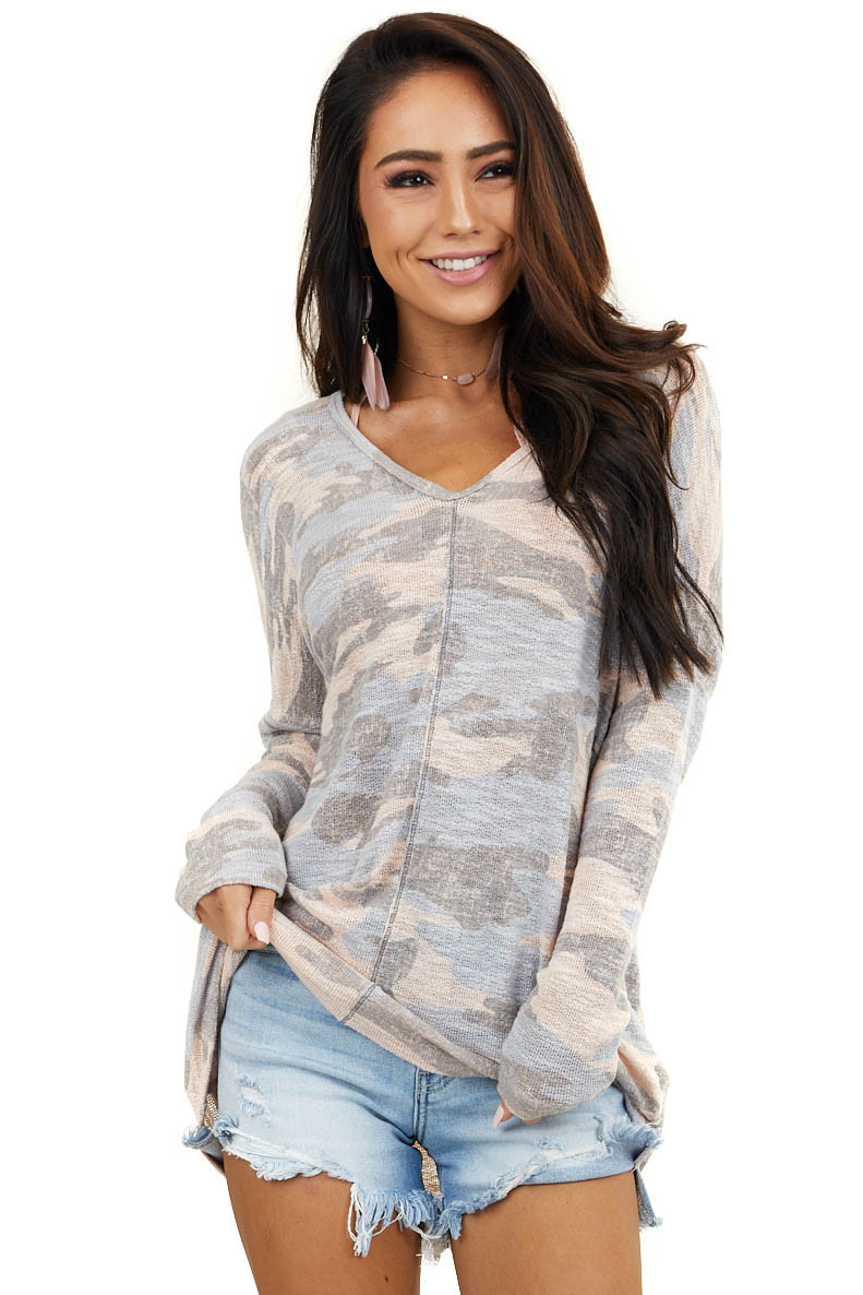 Peach Camo Print V Neck Knit Top with Long Sleeves