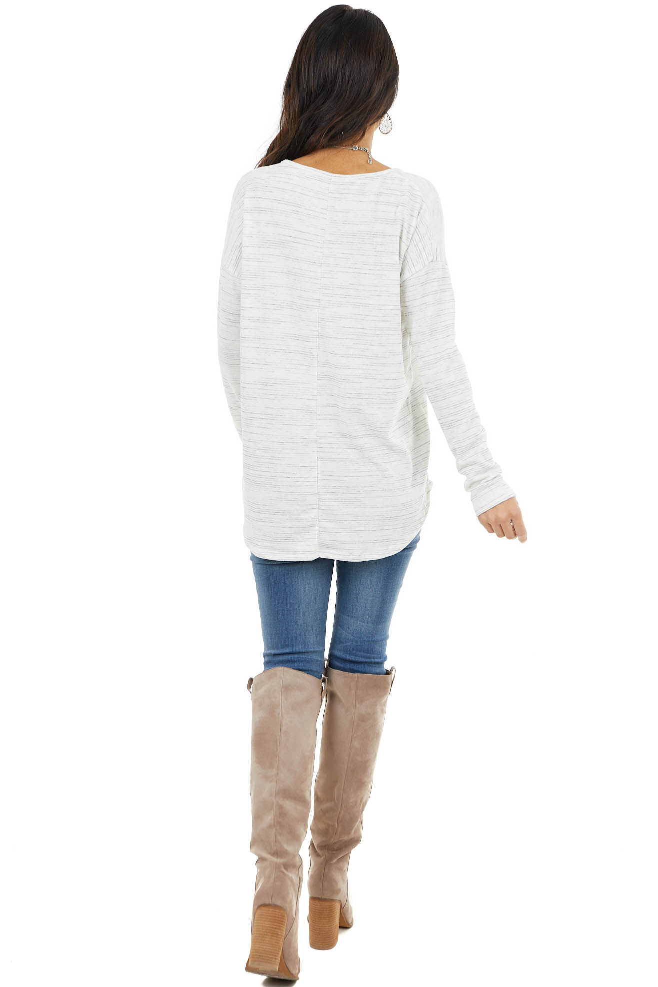 Dove Grey Stripe Patterned Top with Long Sleeves