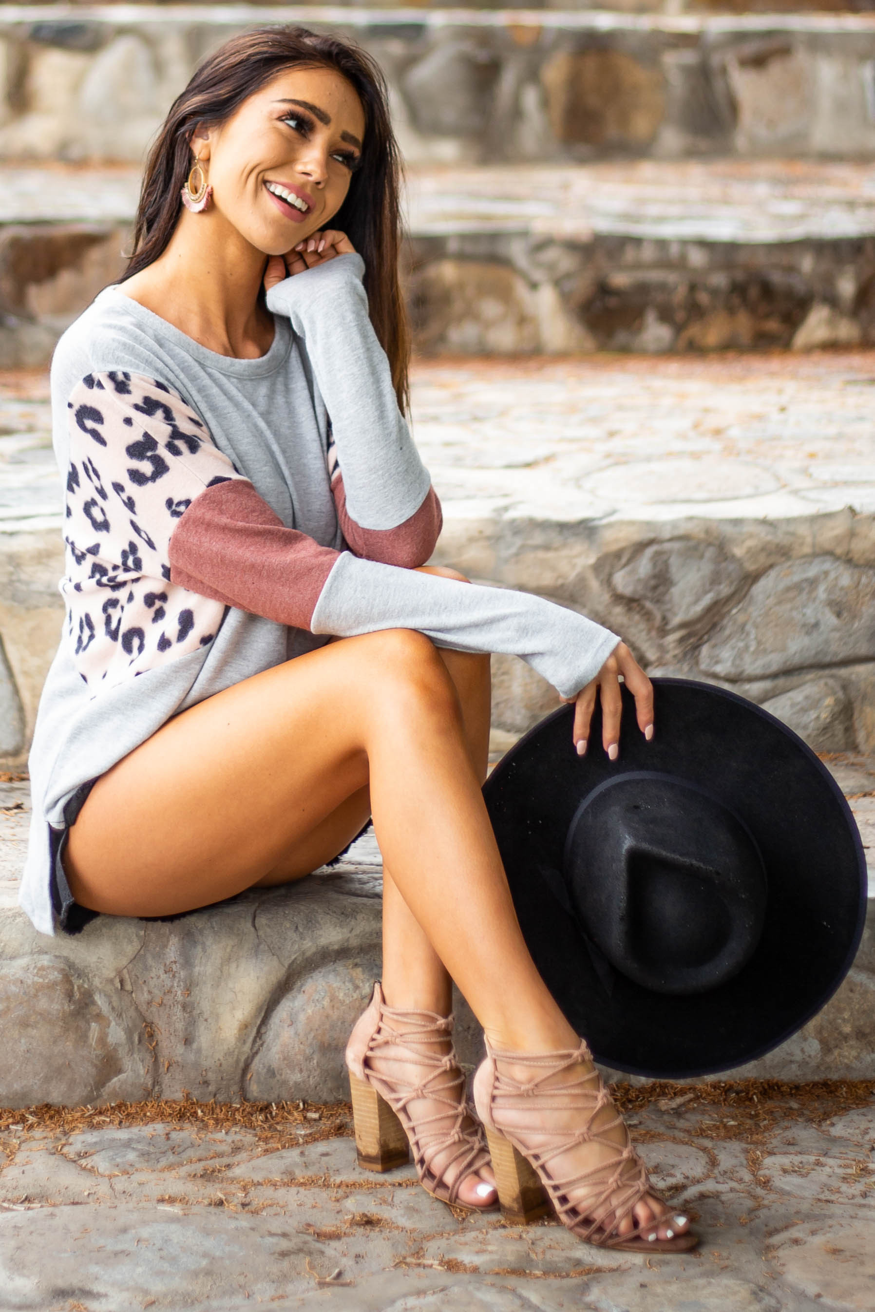 Heather Grey Long Sleeve Top with Multicolor Contrasts