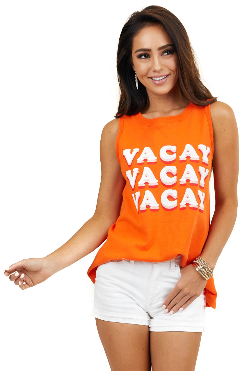 Bright Orange French Terry 'Vacay' Graphic Tank Top