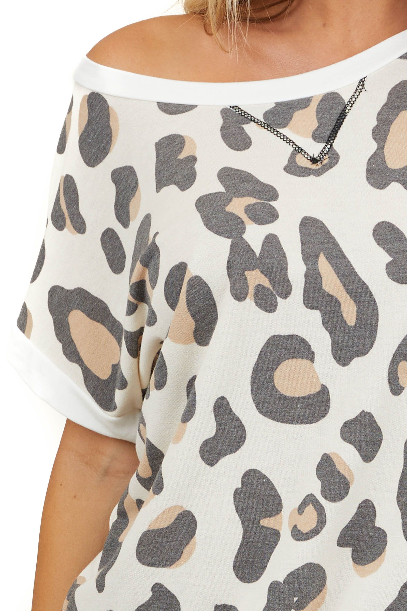 Cream Leopard Print Short Sleeve Top with Stitched V Detail