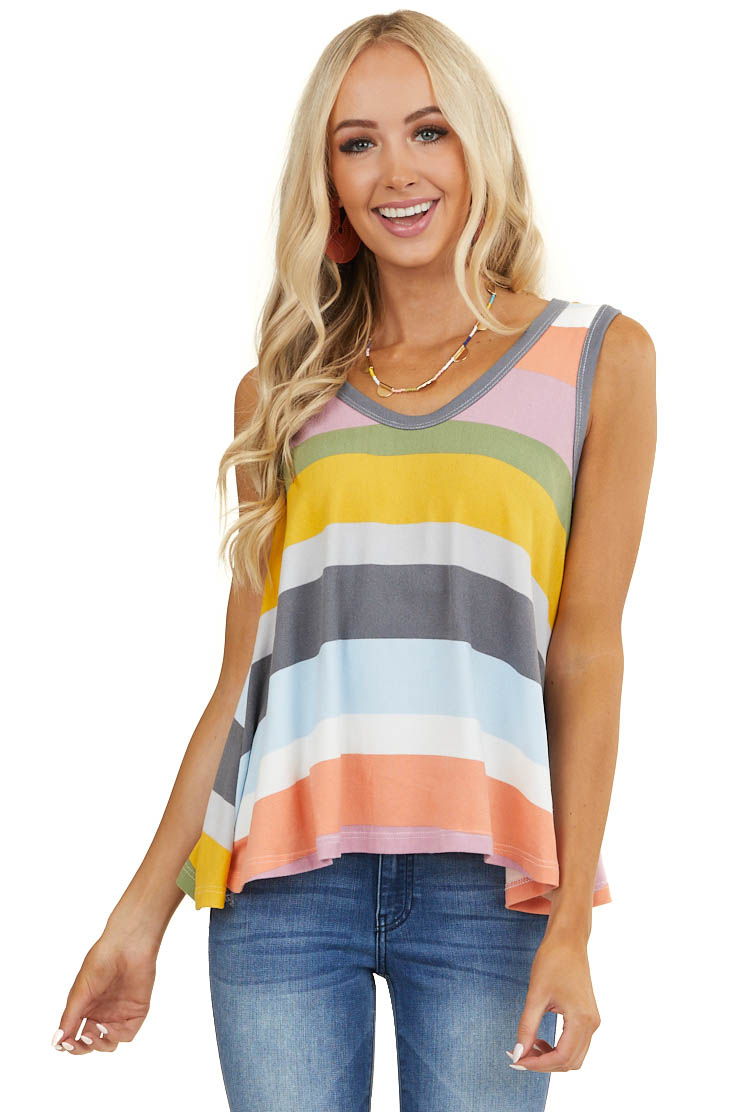 Multicolor Striped Sleeveless Super Soft Trapeze Knit Top